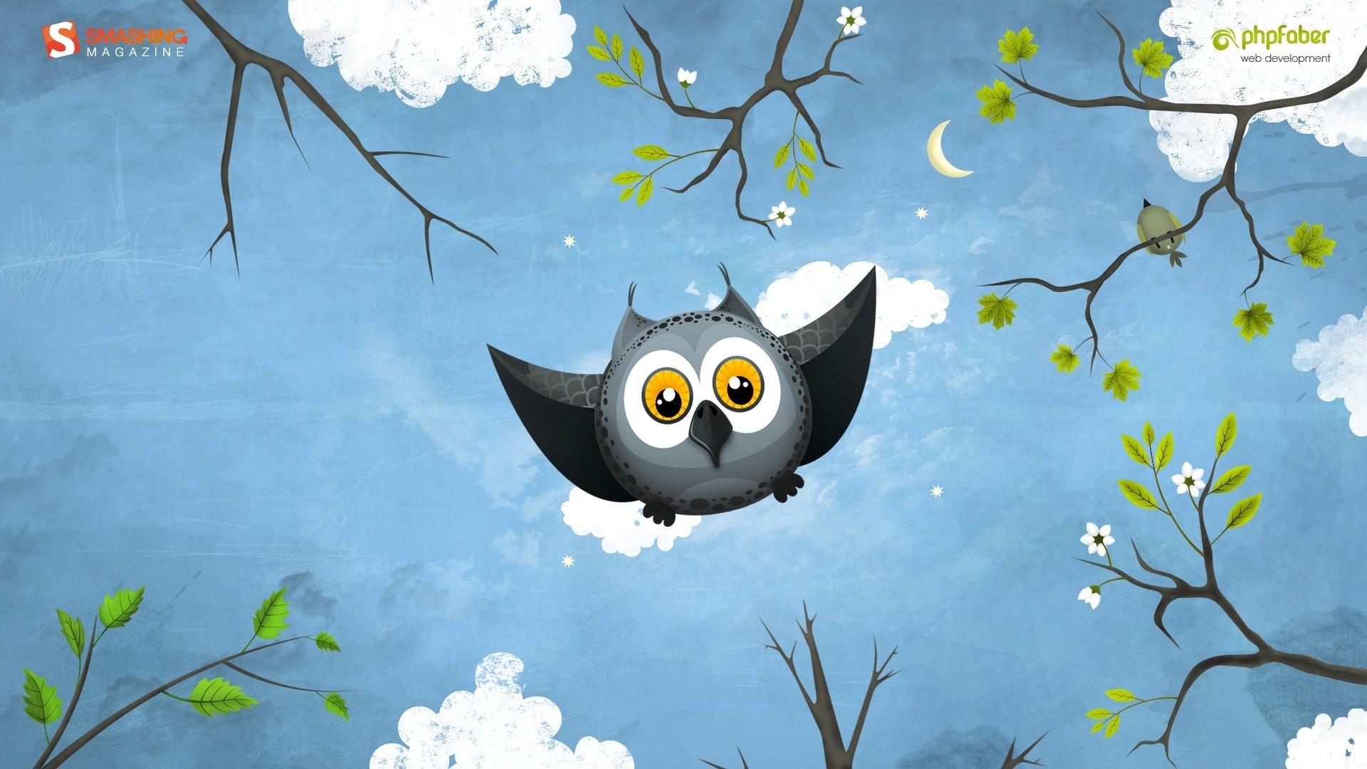1920x1080 3d cute cartoon owl wallpaper - photo #10