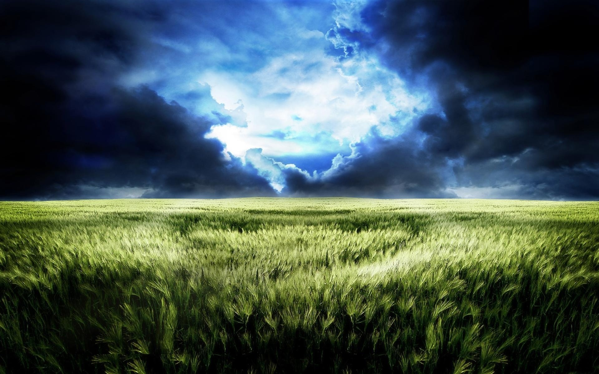 1920x1200 Wallpaper Sky, Field, Gloomy, Dark blue, Gleam, Bad weather