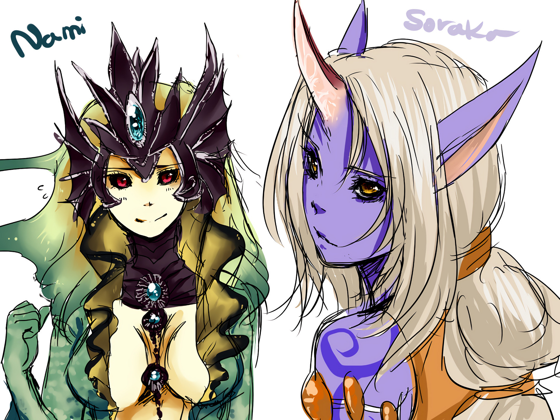 1920x1440 Soraka & Nami by Minari-hanul HD Wallpaper Fan Art Artwork League of  Legends lol