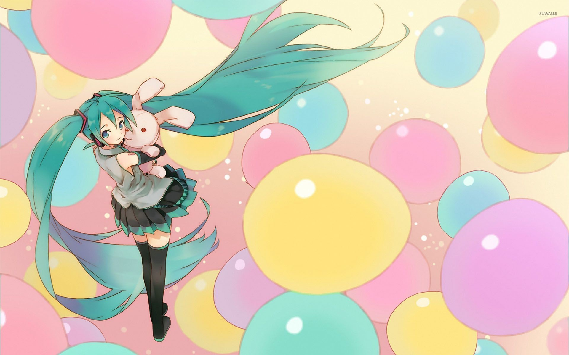 1920x1200 Hatsune Miku between the colorful balloons - Vocaloid wallpaper