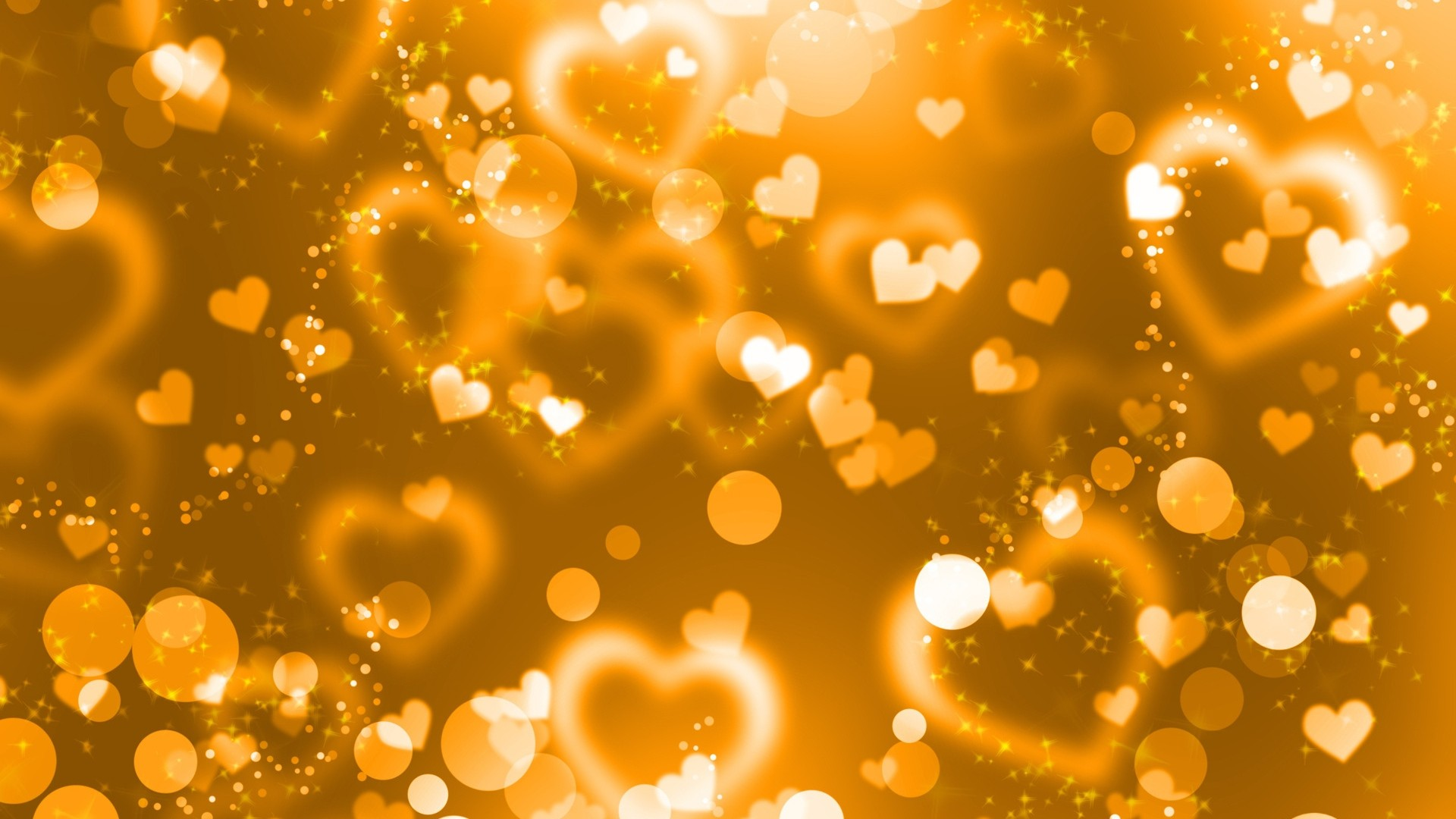 1920x1080 Preview wallpaper glare, hearts, lights, glitter, gold