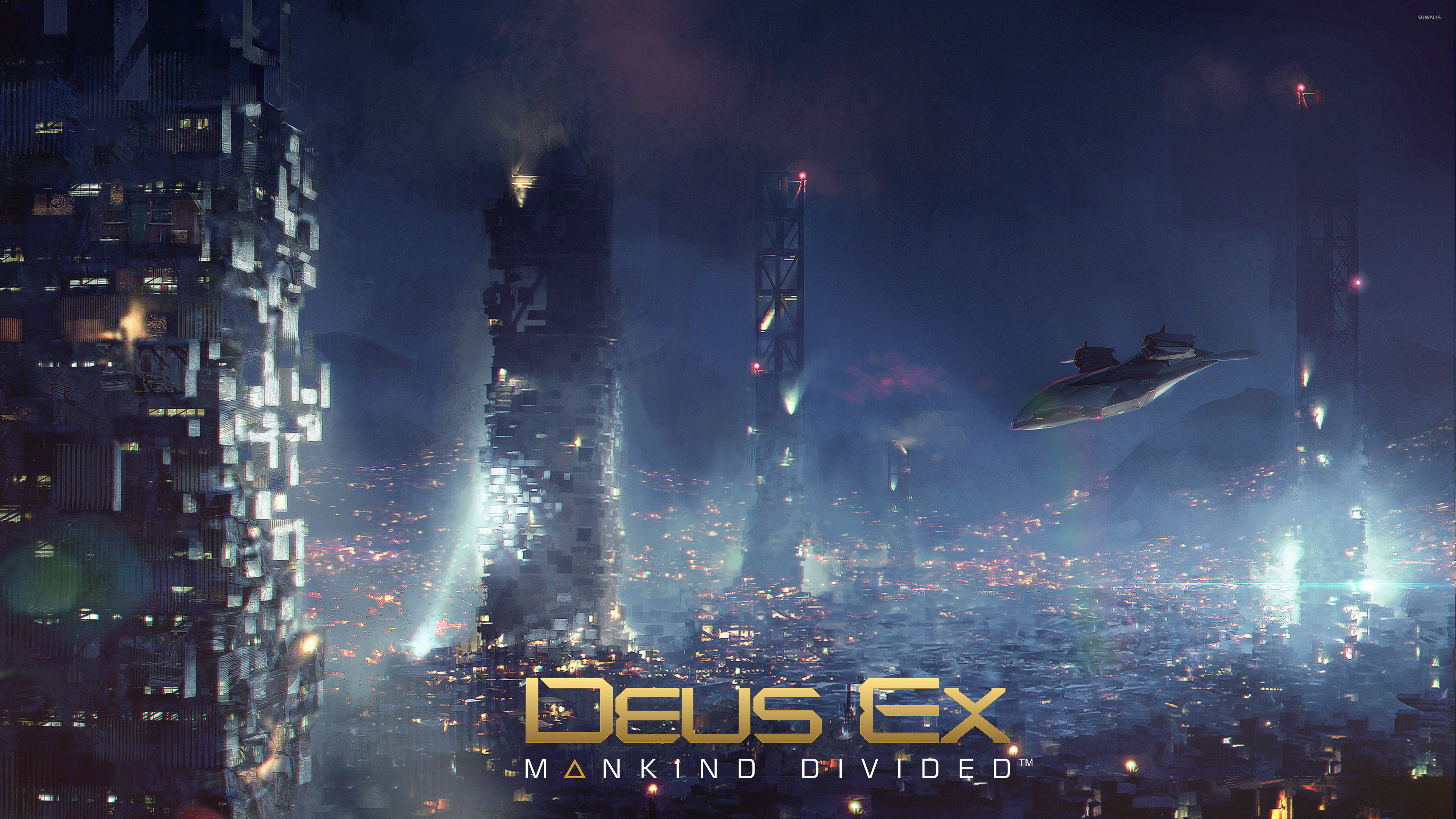 3840x2160 Aircraft over the city in Deus Ex: Mankind Divided wallpaper