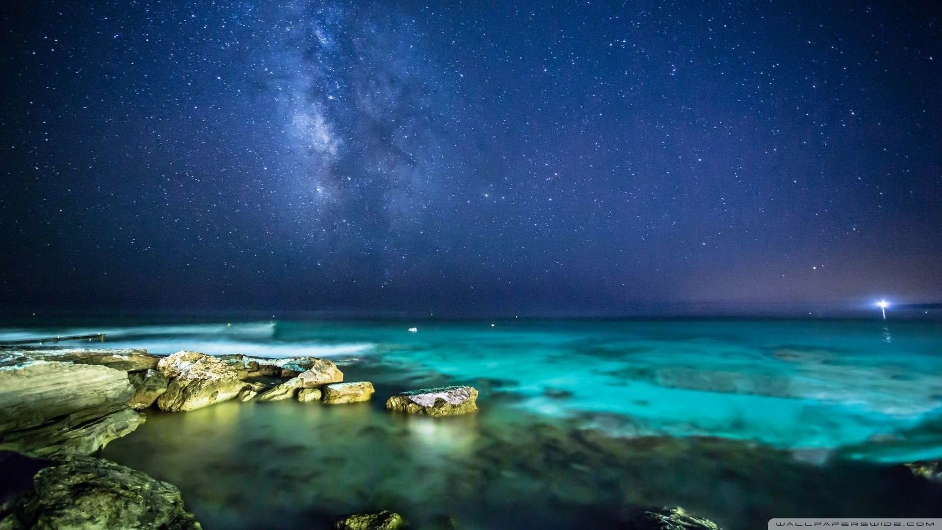 1920x1080 Wallpaper: Ocean Night Sky Wallpaper 1080p HD. Upload at February 16 .
