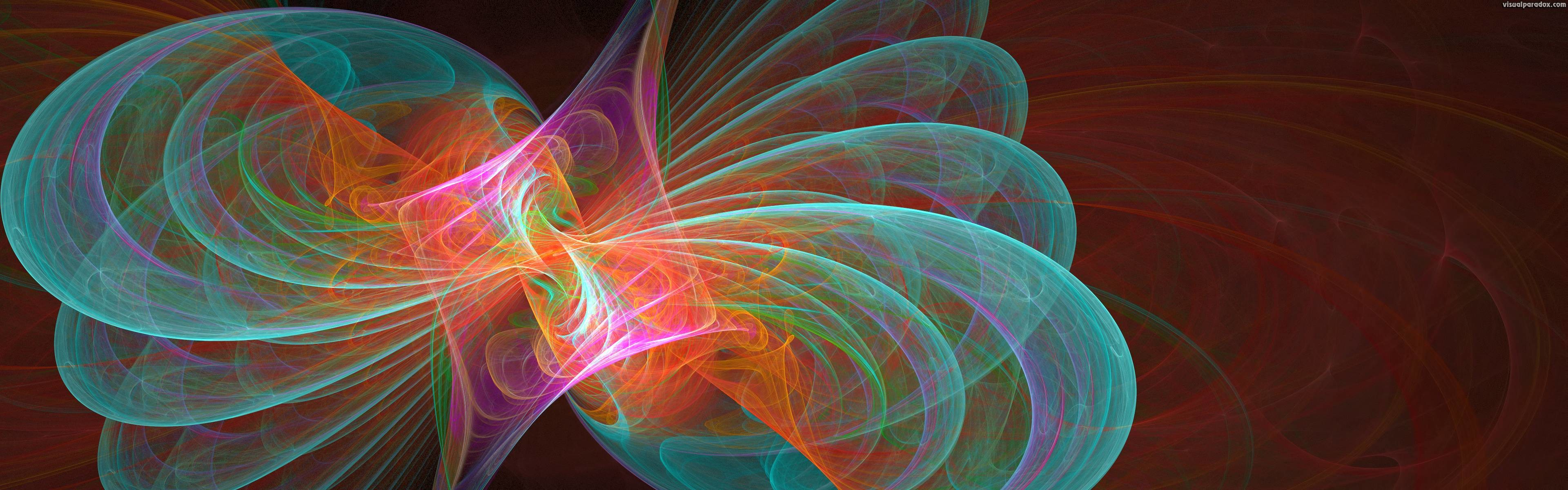 3840x1200 Visual Paradox Free 3D Wallpaper 'Holographic Butterfly' 3840x1200 .