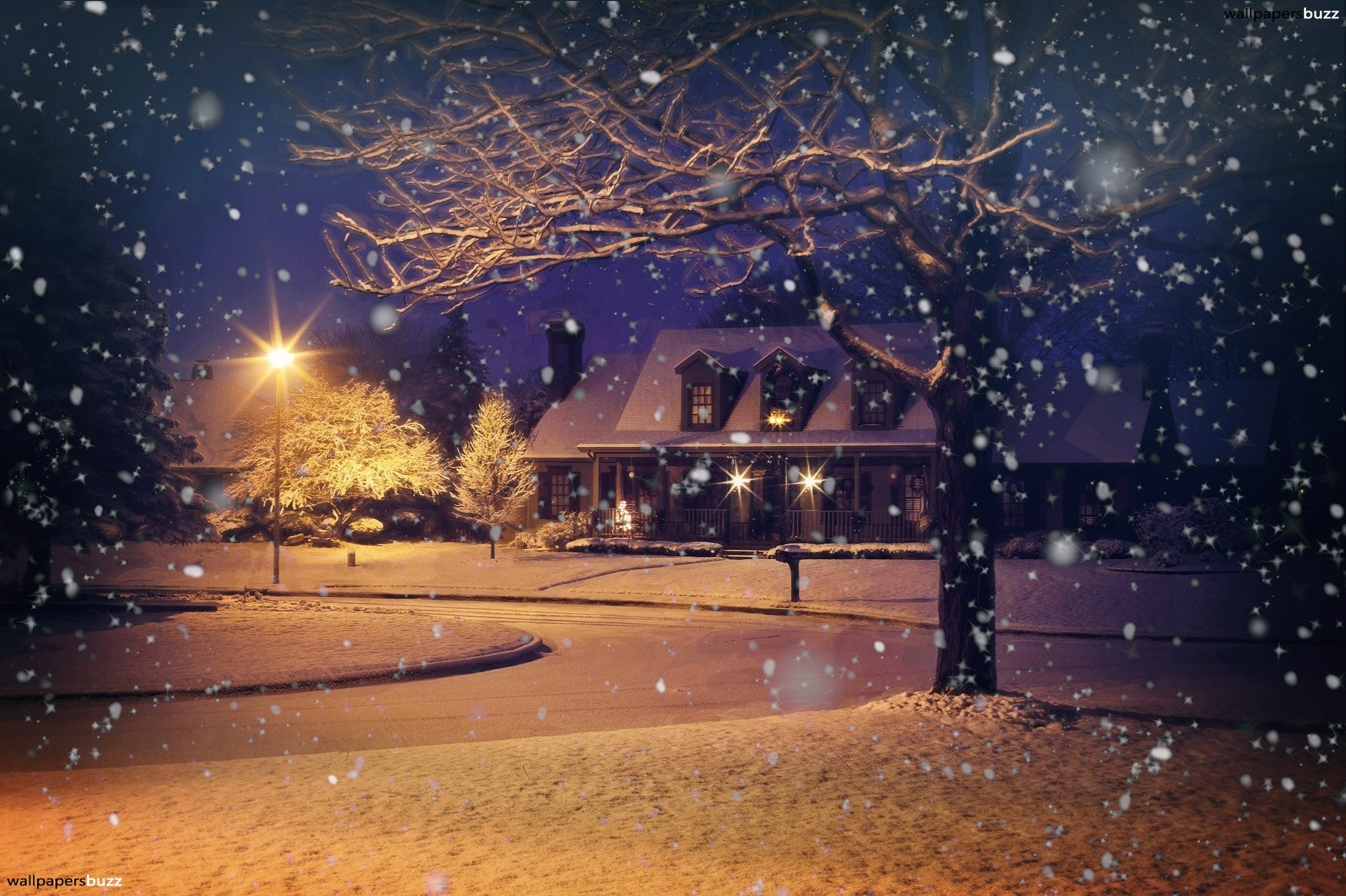 1920x1279 It is a cosy and romantic winter night. It is snowing. A big house can be  seen in the background. This HD image can be resized for your desktop.