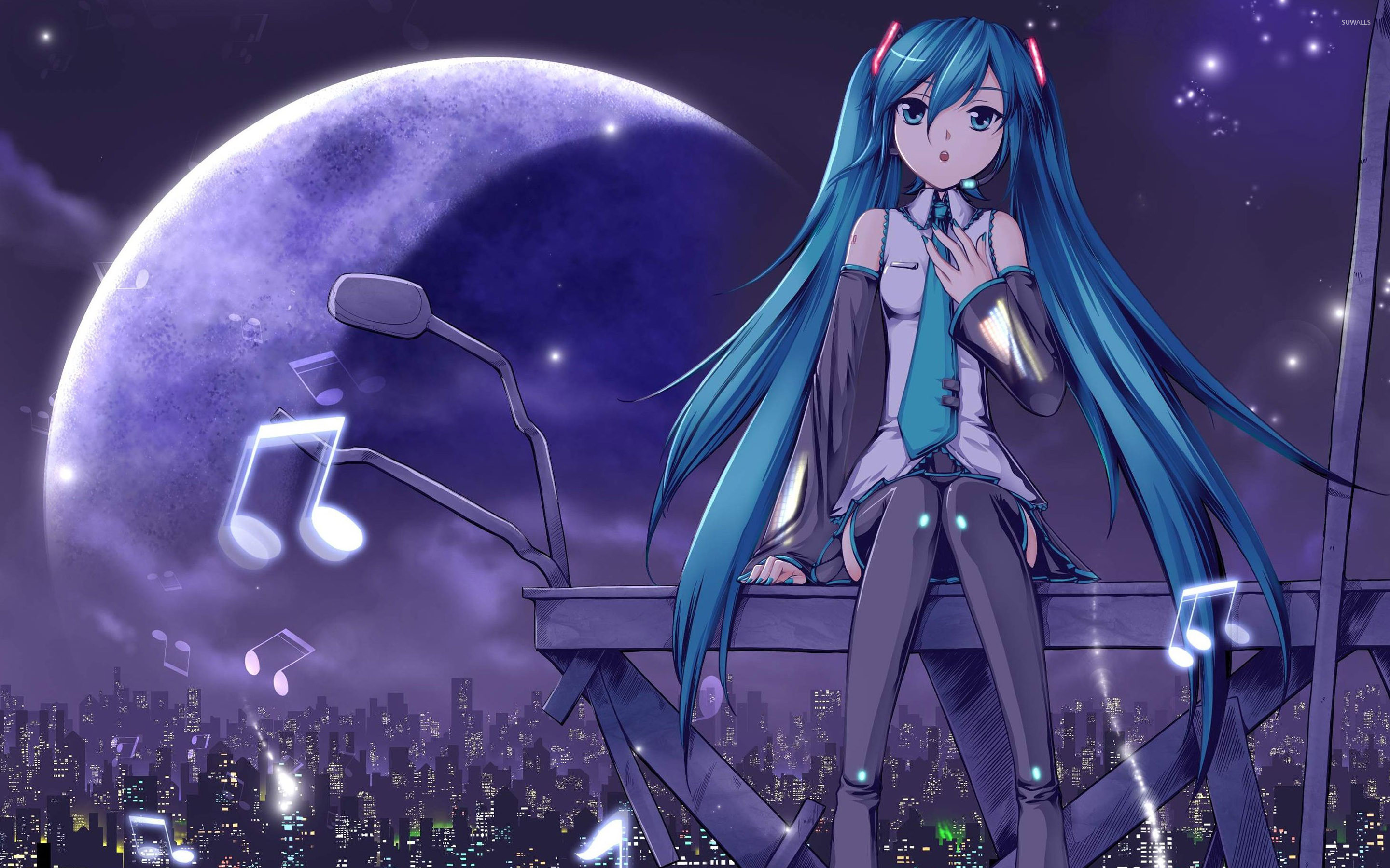 2880x1800 Hatsune miku on top of the city vocaloid wallpaper .