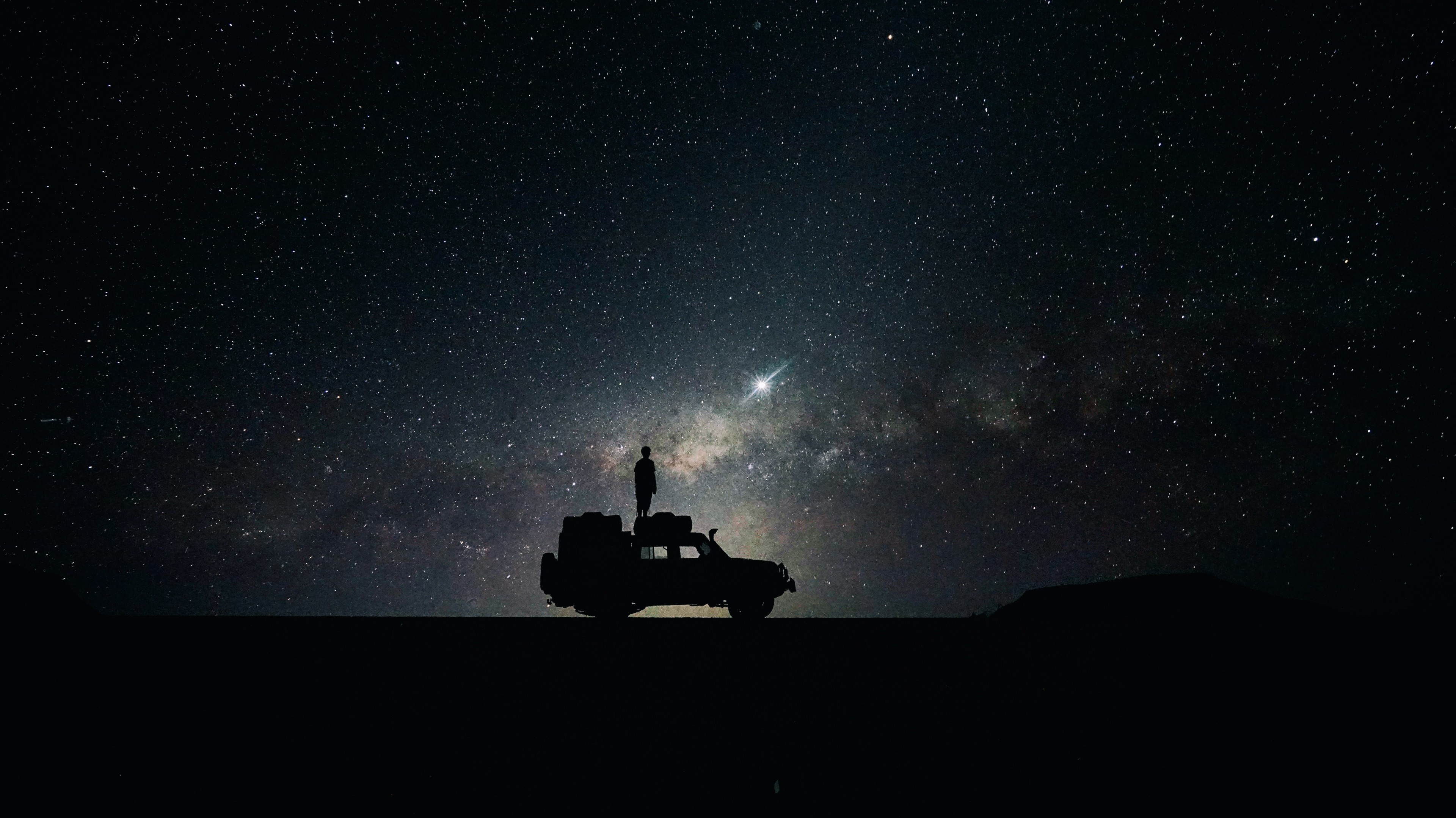 3840x2160 Preview wallpaper stars, sky, space, car