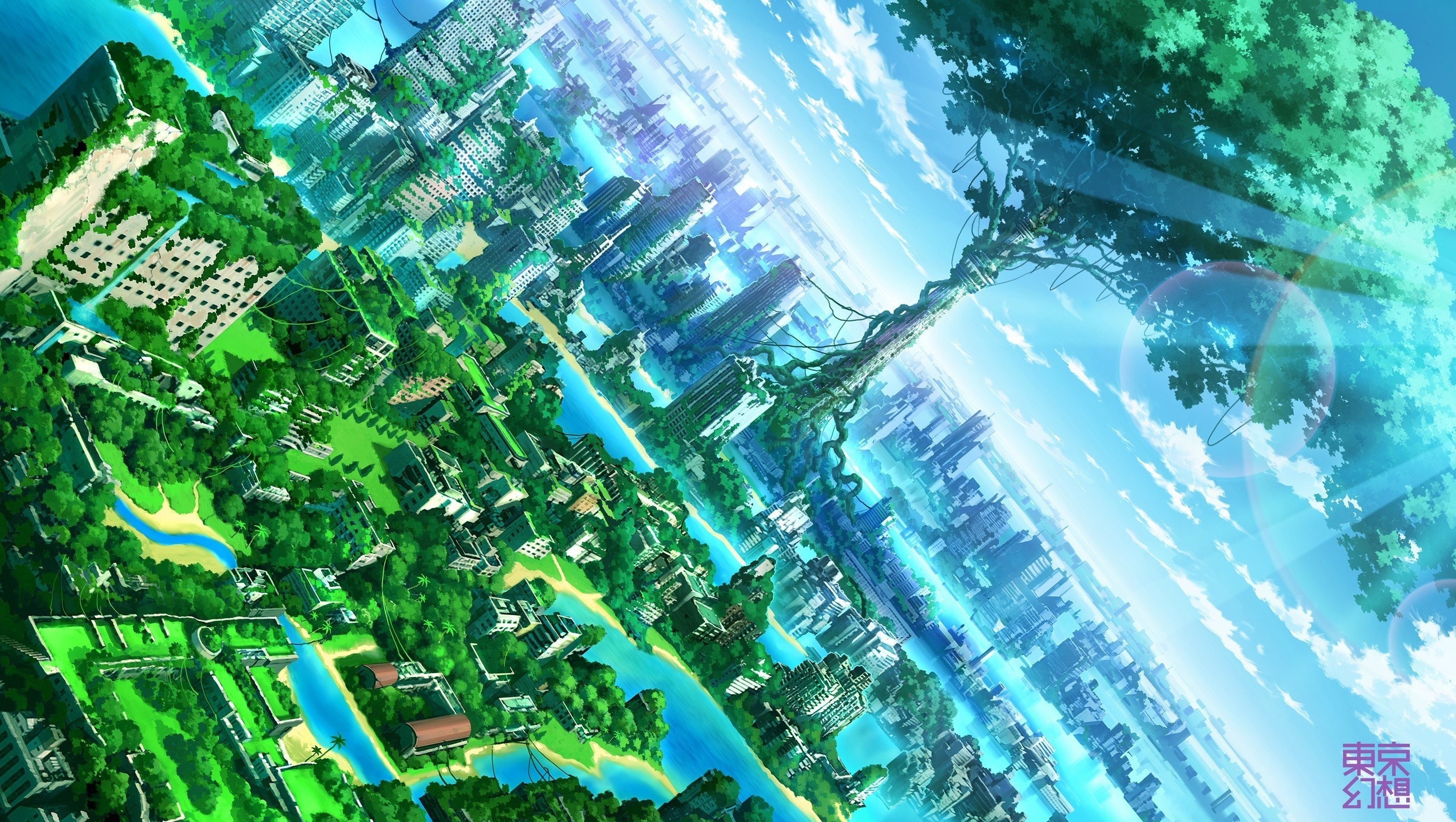 2896x1636 Anime Artwork Fantasy Art Cities Nature