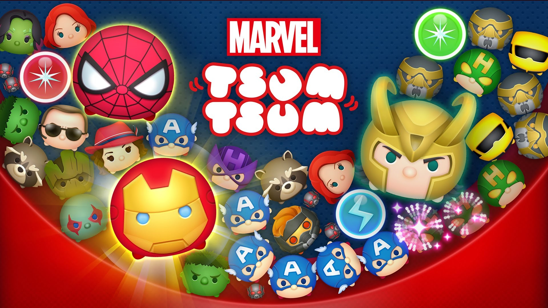 1920x1080 The Marvel universe joins Disney in the cute and cuddly world of Tsum Tsum!  Marvel Tsum Tsum is match-3 puzzle game in the same vein as Disney Tsum Tsum,  ...