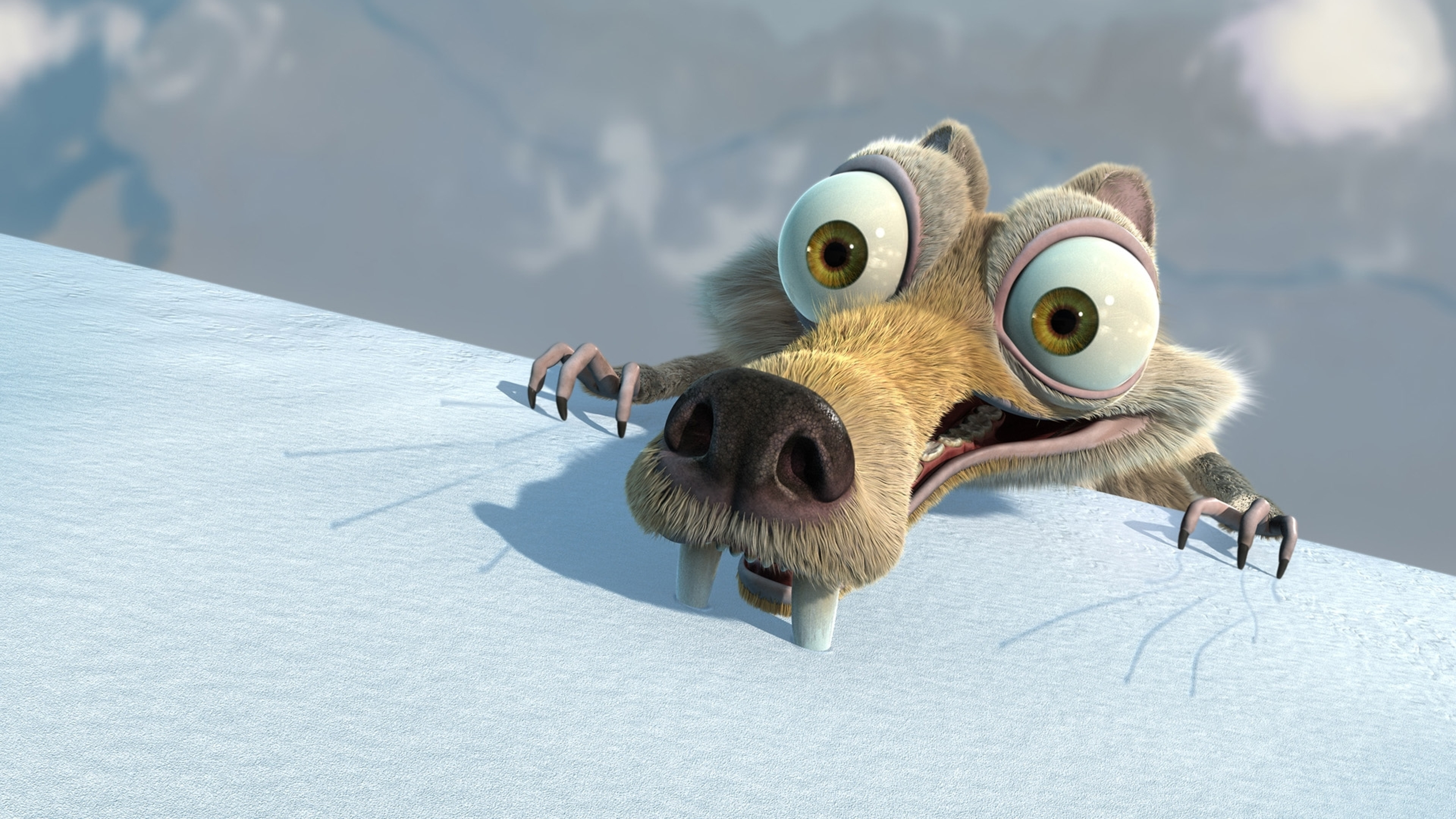 3840x2160 Preview wallpaper skrat, squirrel, ice age, ice, falling