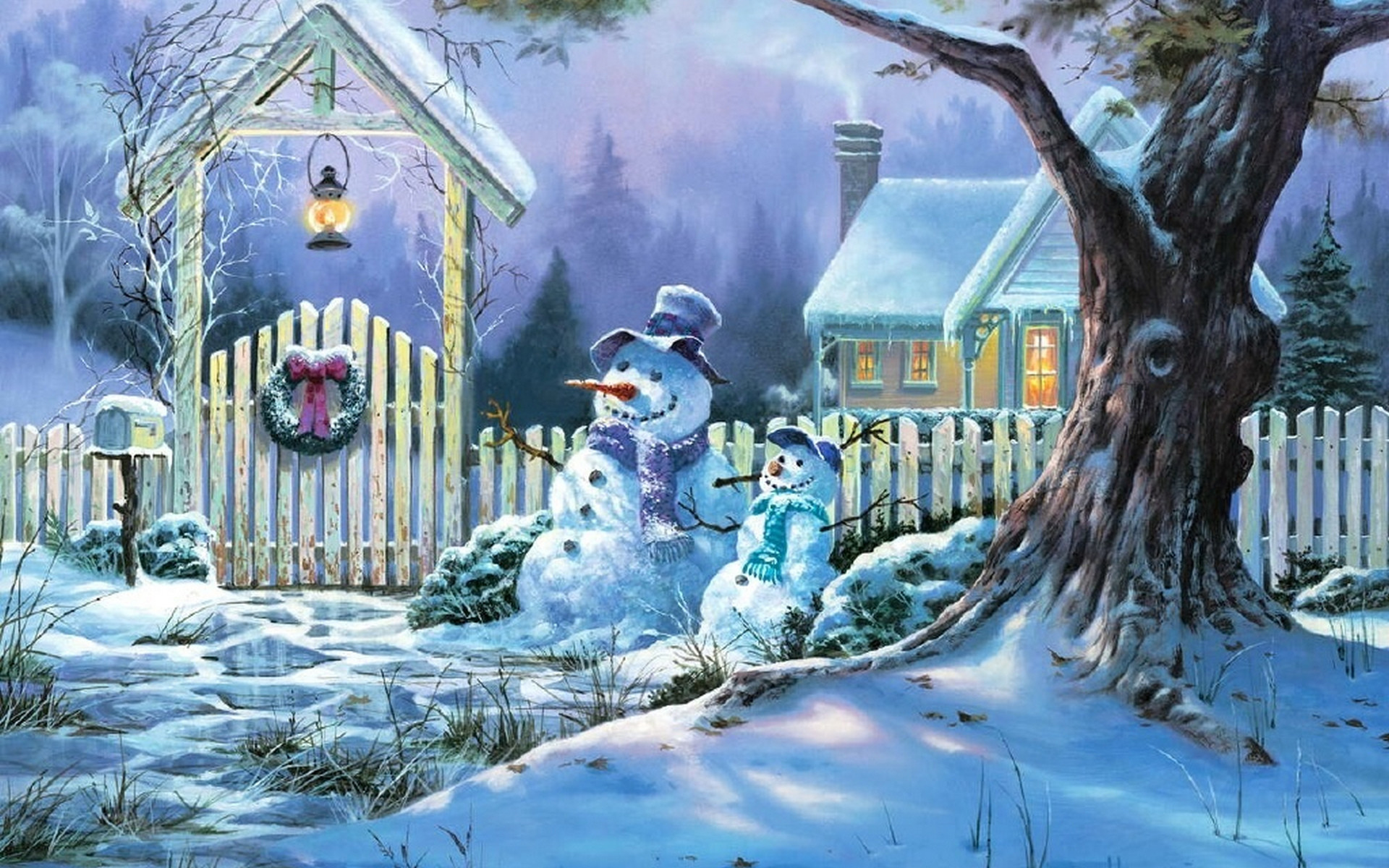 1920x1200 Snowman Christmas Snow Wallpapers
