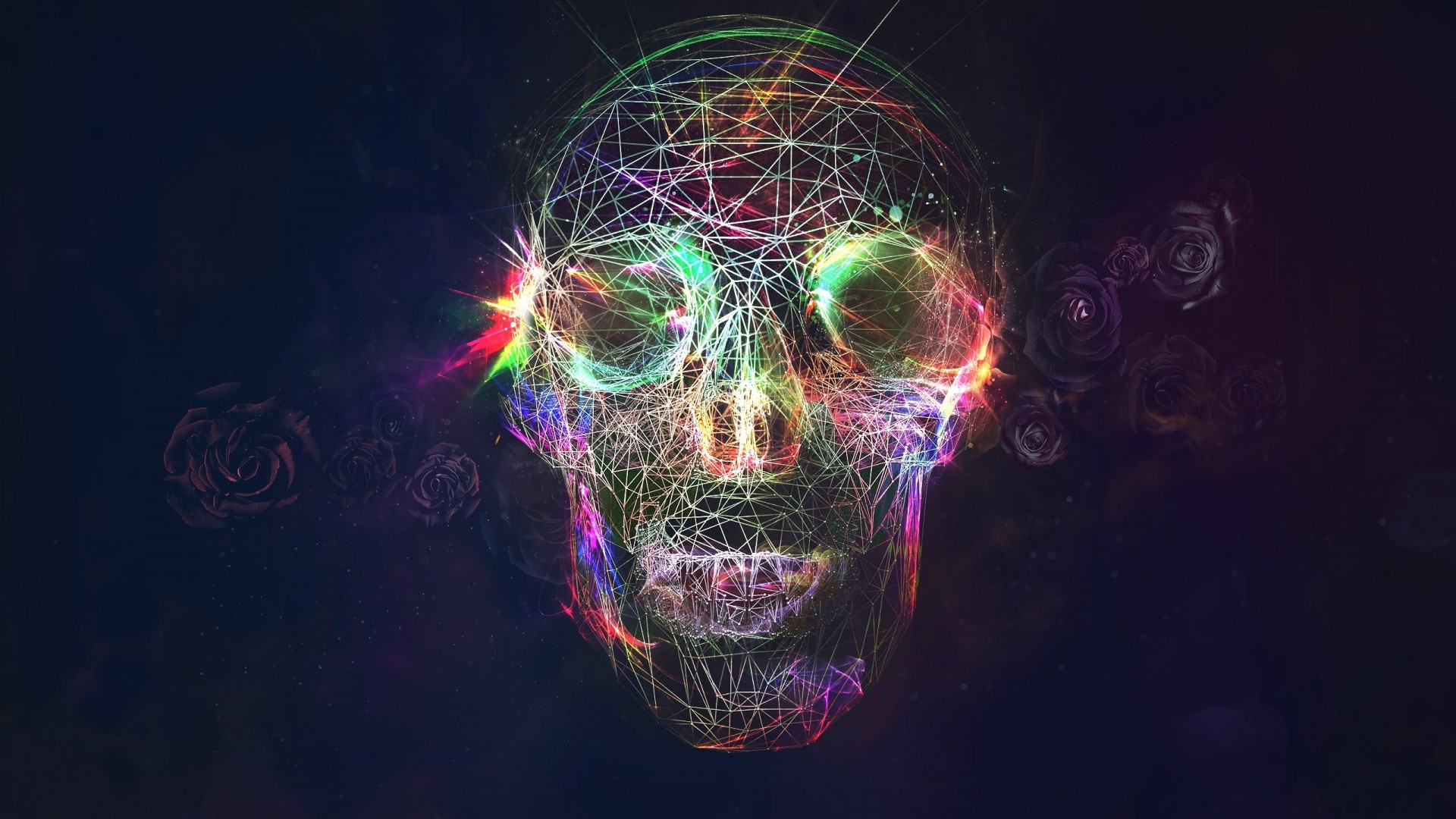 1920x1080 Preview wallpaper skull, abstract, bright, background