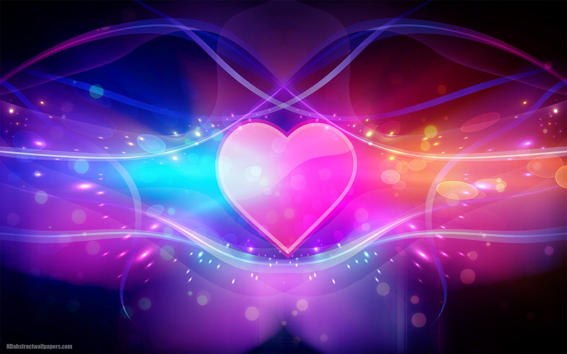 1920x1200 Colorful abstract wallpaper with pink love heart