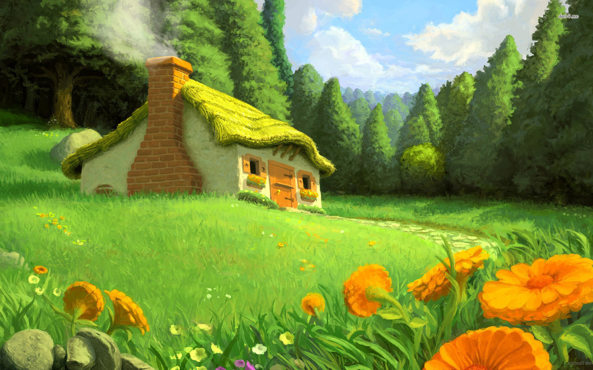 1920x1200  Beautiful Fairy Tale Background View Mystic Stock Illustration