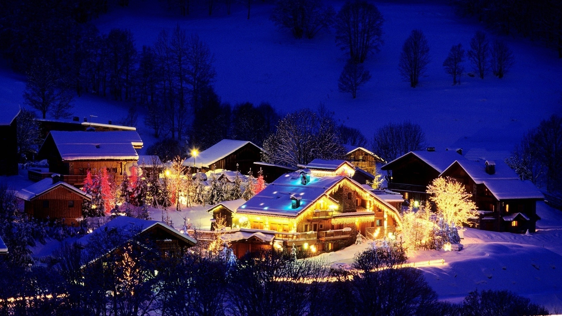 1920x1080 Christmas Snow Scene Wallpaper ·① throughout Christmas Cabin And Tree In  Deep Snow Christmas Snow