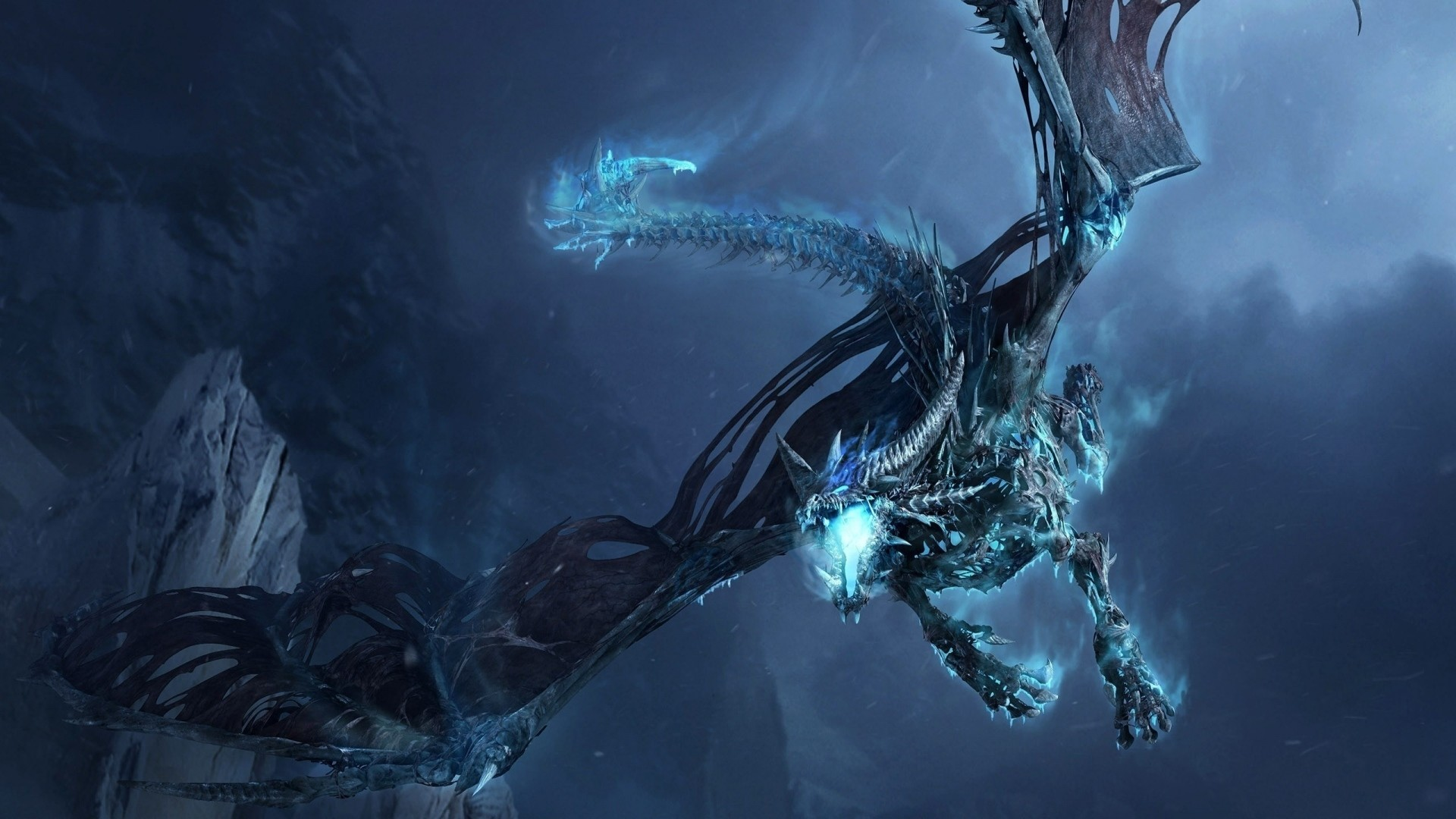 1920x1080 Preview wallpaper dragon, fly, jaws, rocks, night