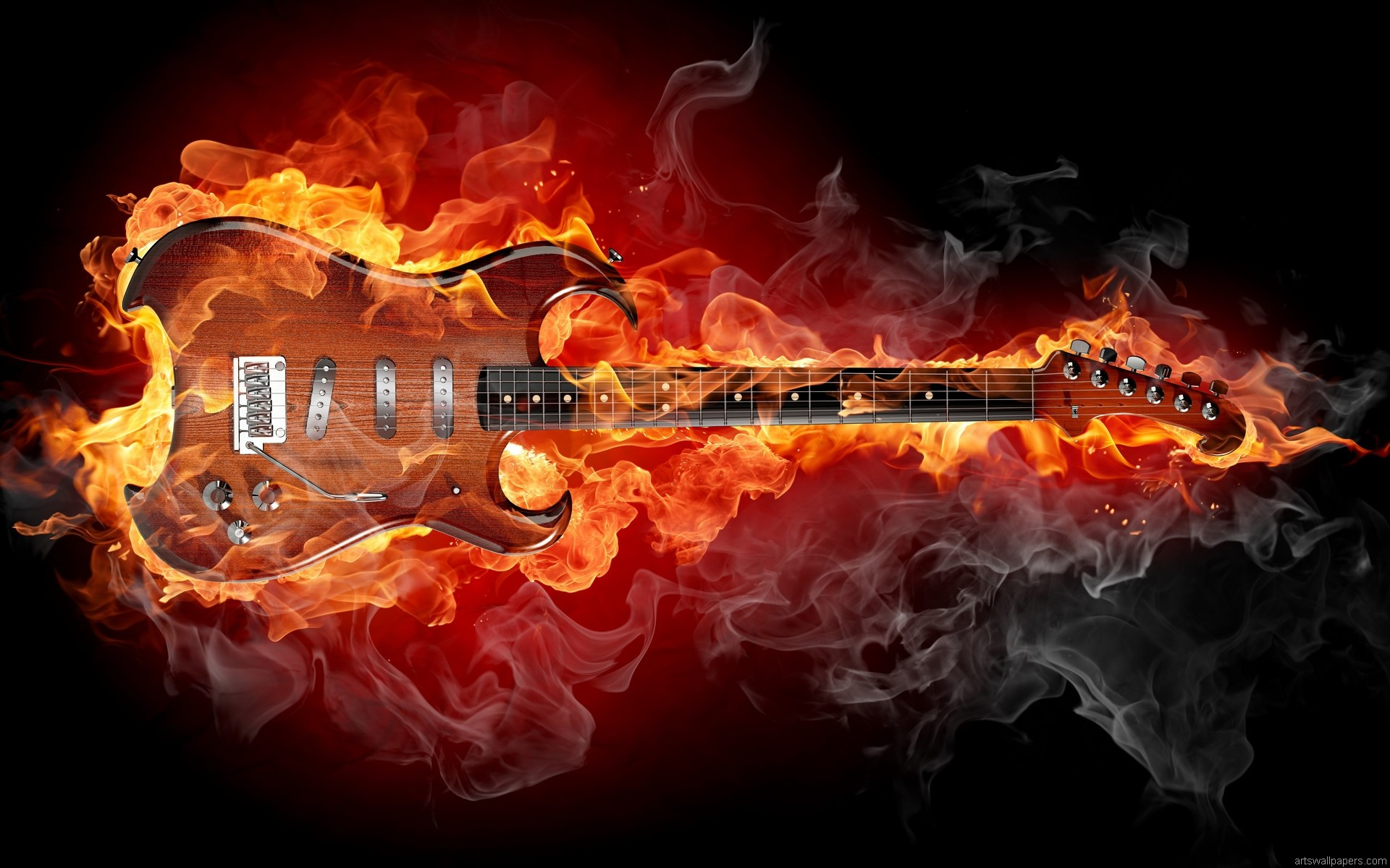 1920x1200 Guitar Fire Wallpaper Page 1