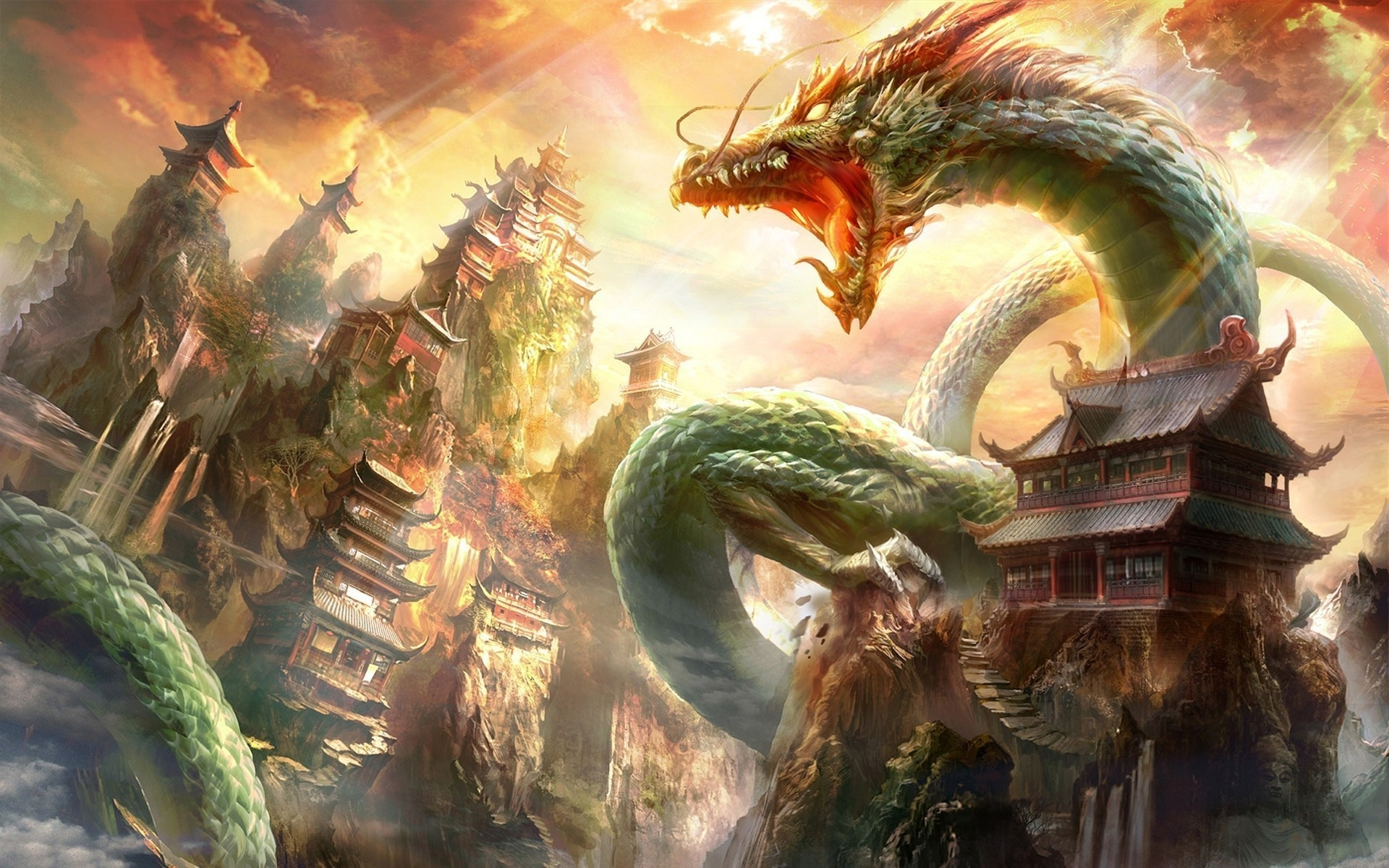 1920x1200 fantasy Art, Dragon, Chinese Architecture Wallpapers HD / Desktop and  Mobile Backgrounds