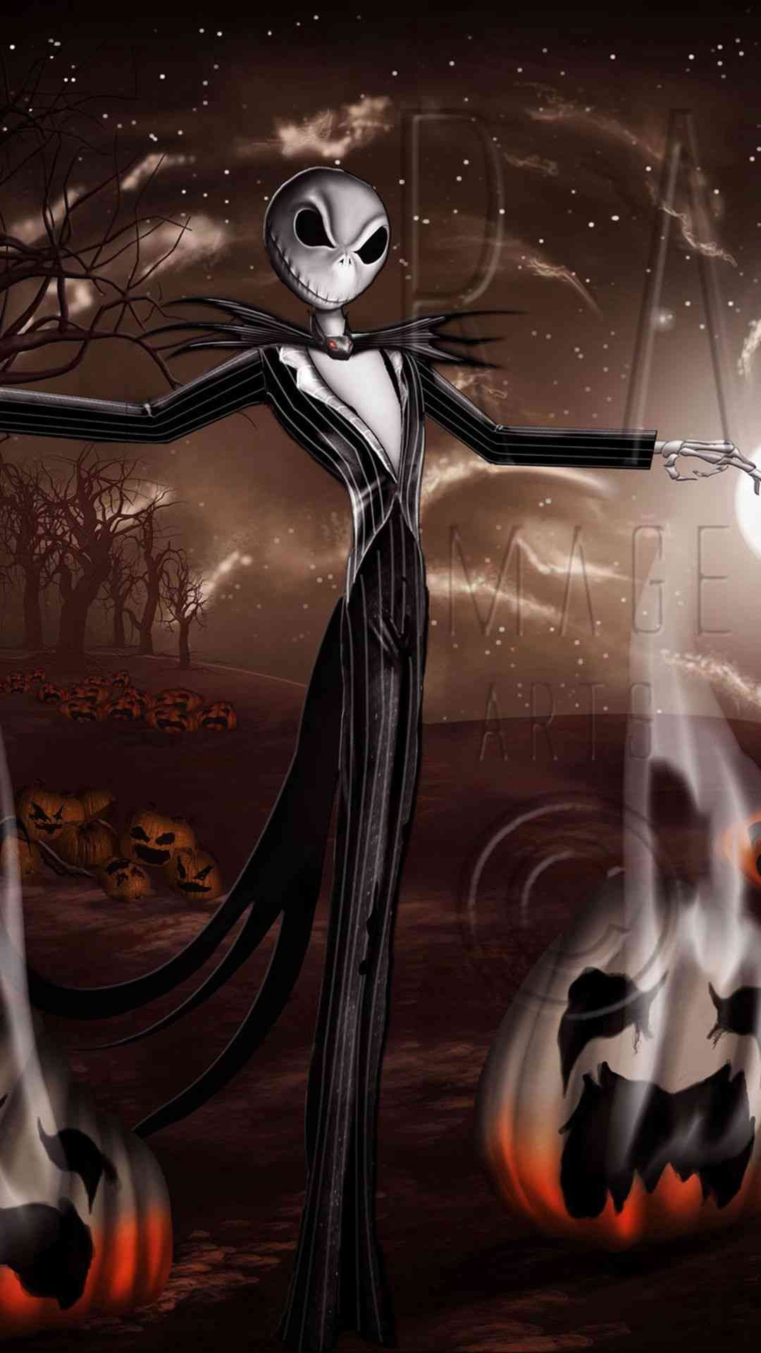 1080x1920 Crazy Jack Skellington Pumpkin 2014 Halloween iPhone 6 plus Wallpapers -  Night Before Christmas, Tim