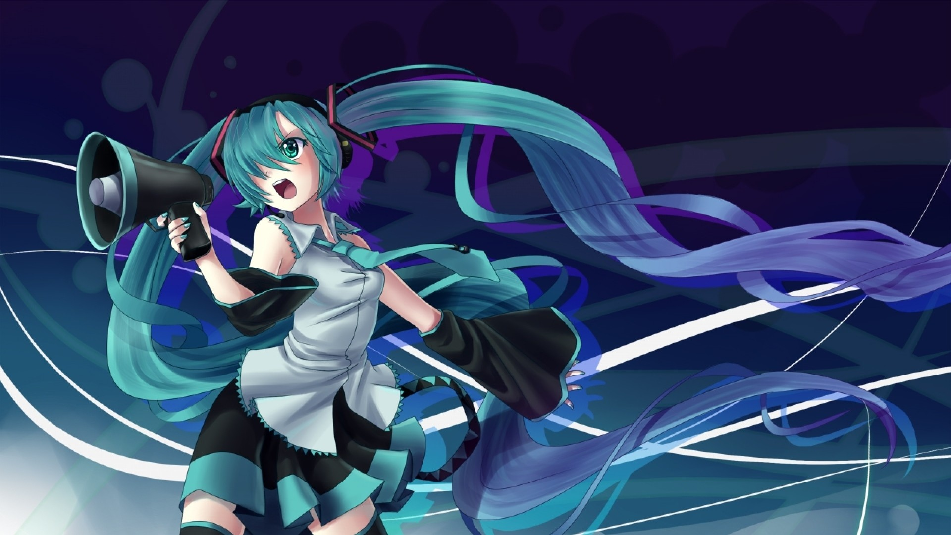 1920x1080 Preview wallpaper hatsune miku, girl, horn, space, tape
