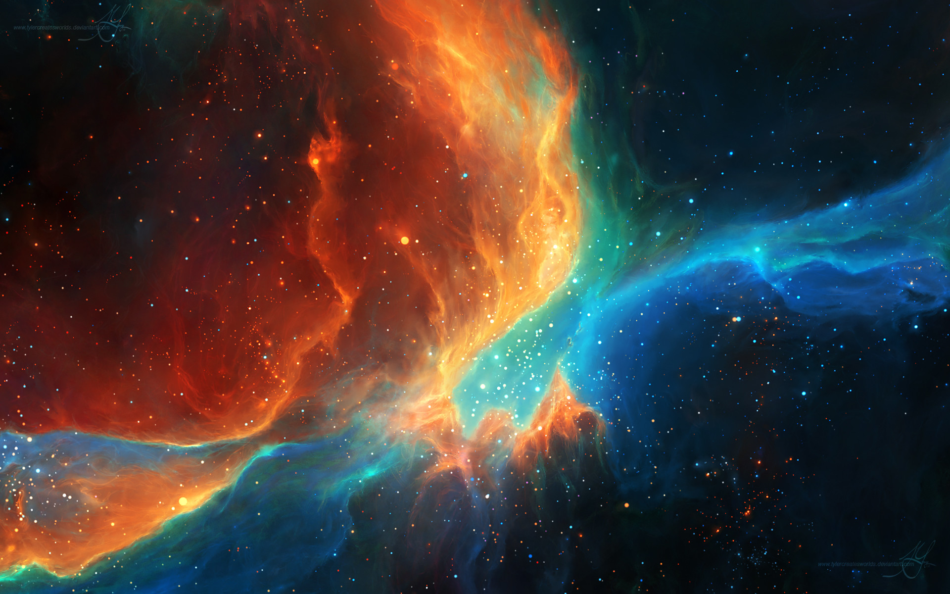 1920x1200 Colorful Color Splash Galaxy Nebulae Space Stars