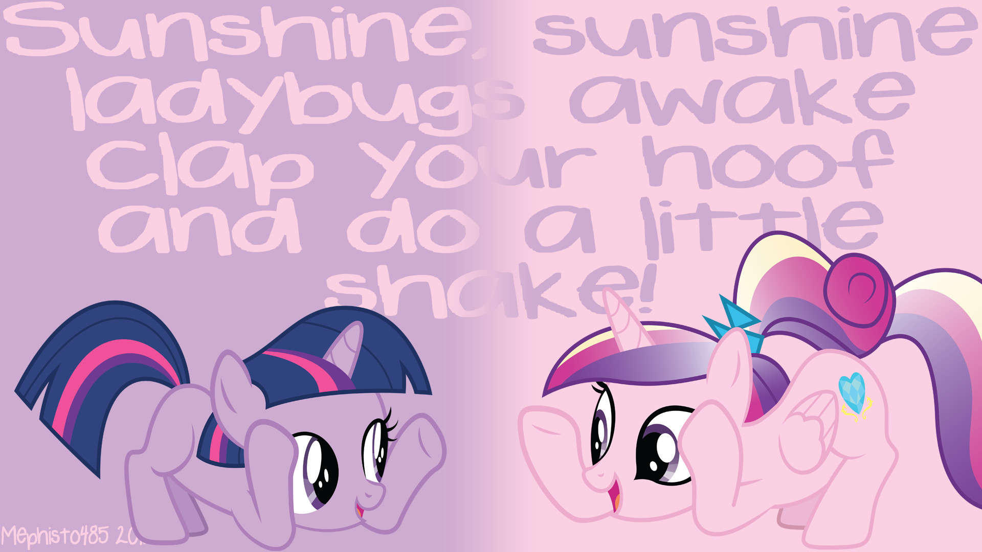 1920x1080 ... Filly Twilight + Young Cadence Hoofshake Wallpaper by Mephisto485