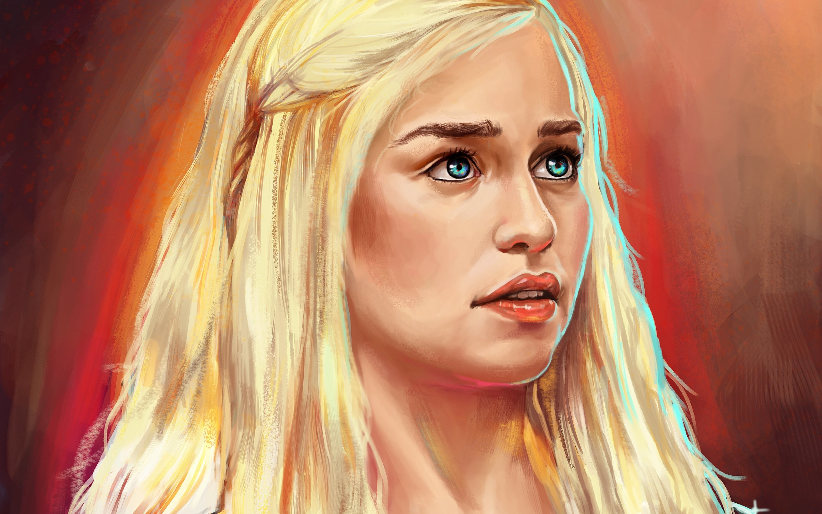 2880x1800 Emilia Clarke Art Blonde Blue Eyes Game Of Thrones Wallpaper At Fantasy  Wallpapers