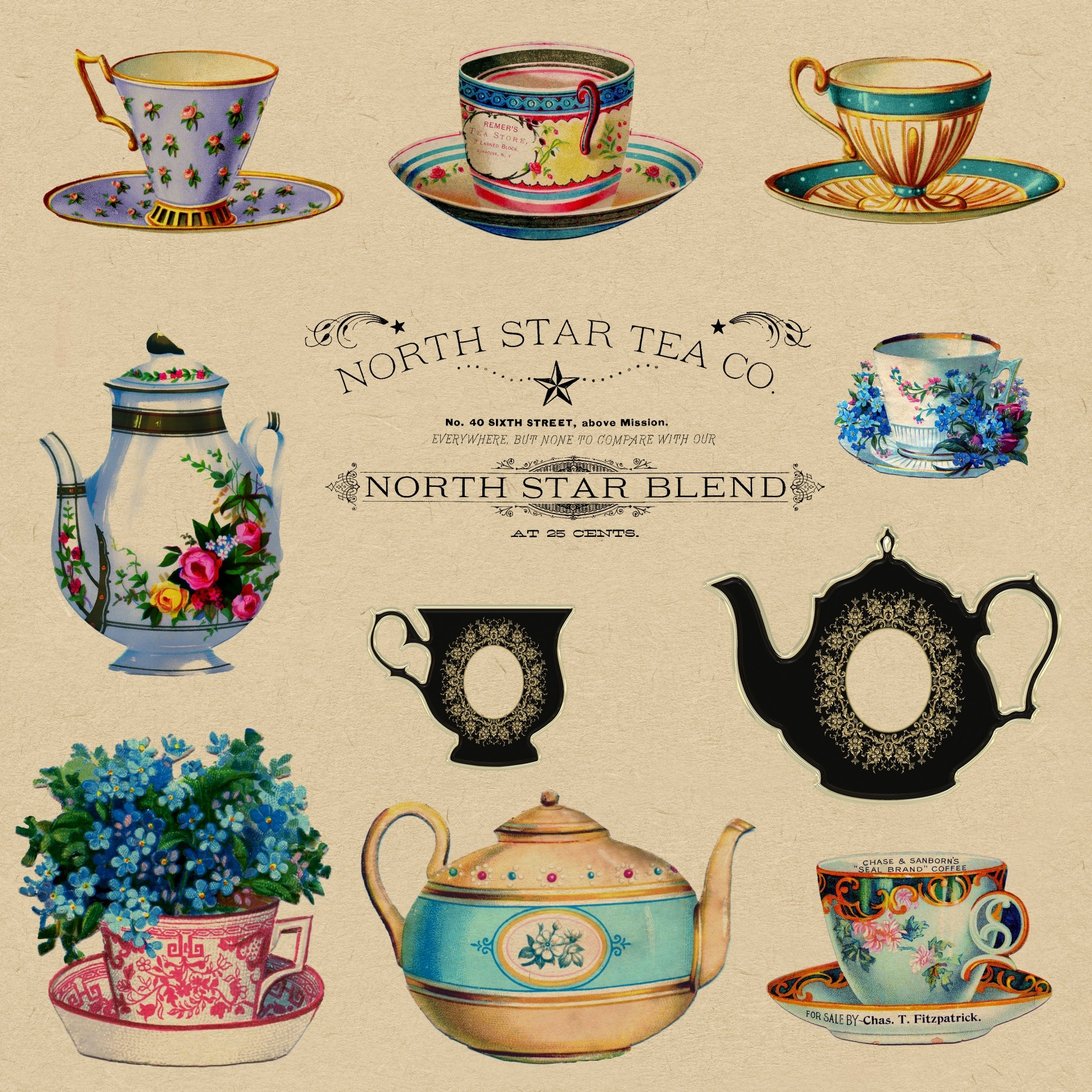 1920x1920 Teacups Vintage Wallpaper Adverts
