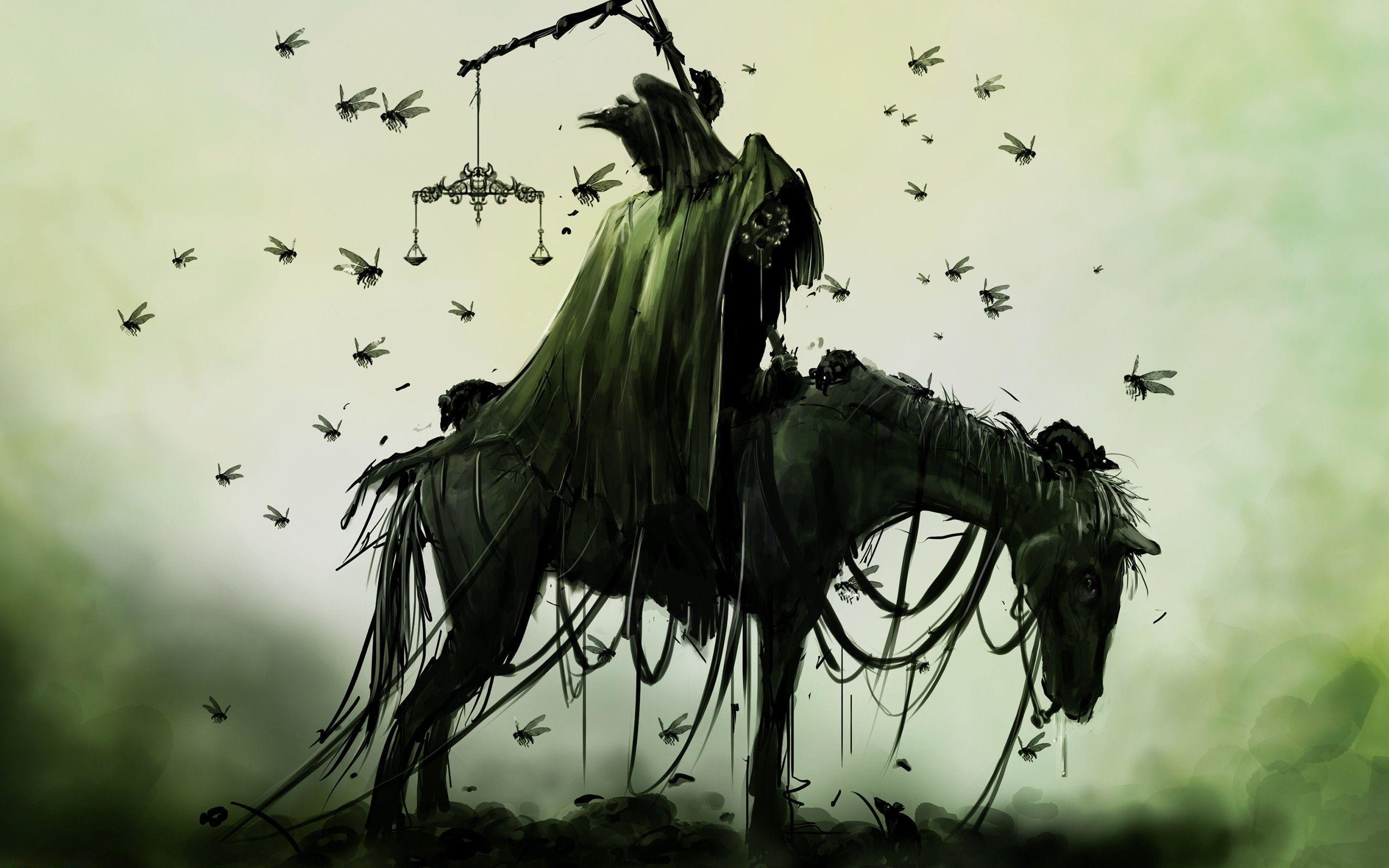 2560x1600 Creepy knight on the horse