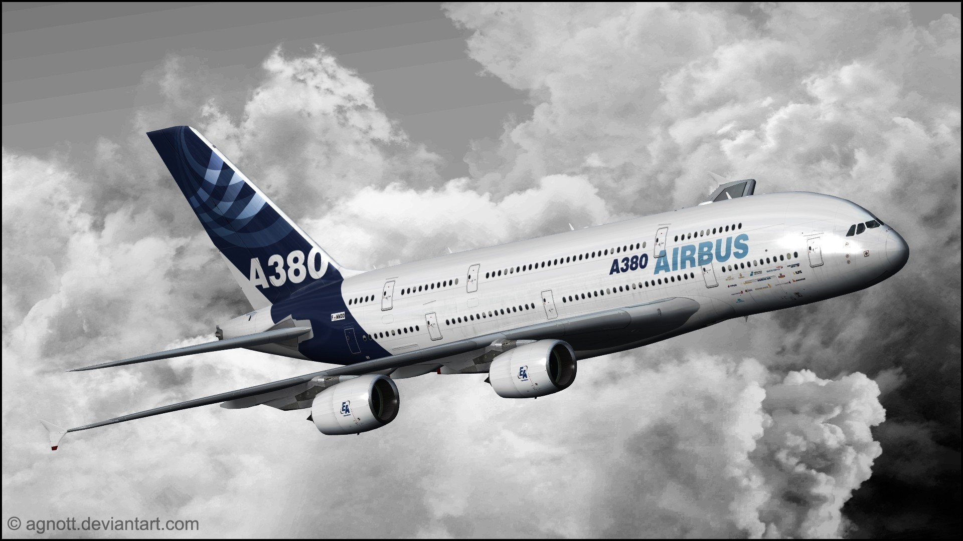 1920x1080 Airbus a380 aircraft aviation clouds wallpaper