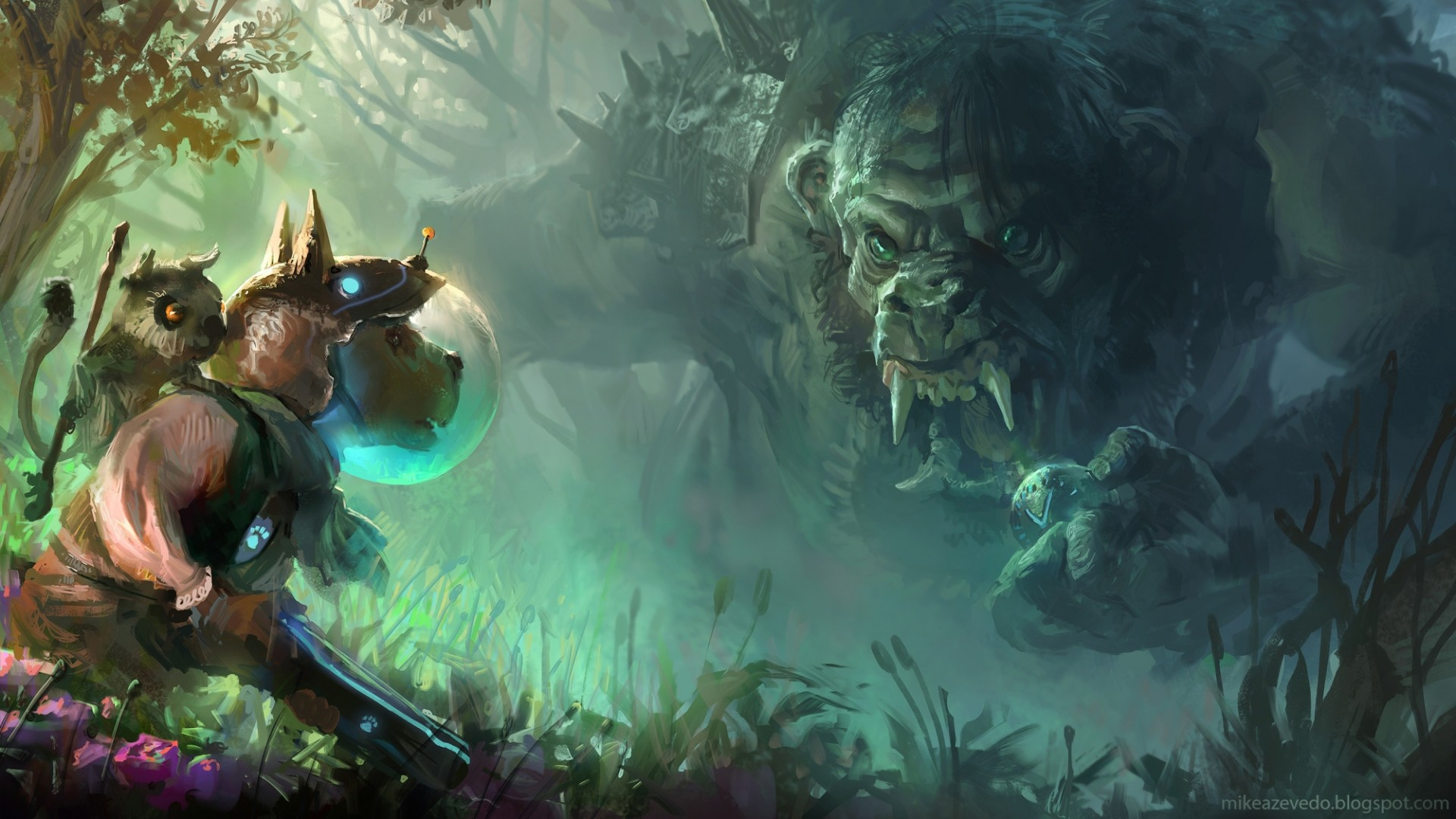 1920x1080 Preview wallpaper troll, dog, art, forest