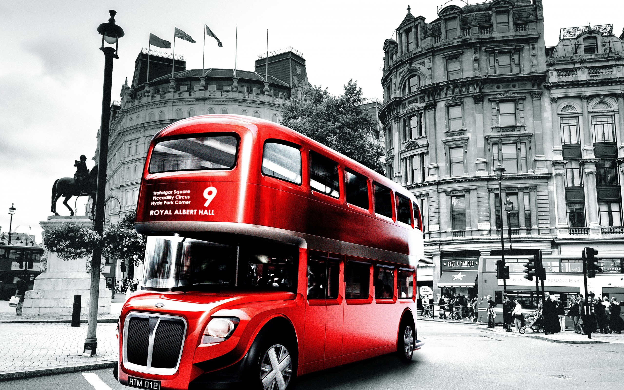 2560x1600 Download wallpaper london, england, bus, black and white, city .