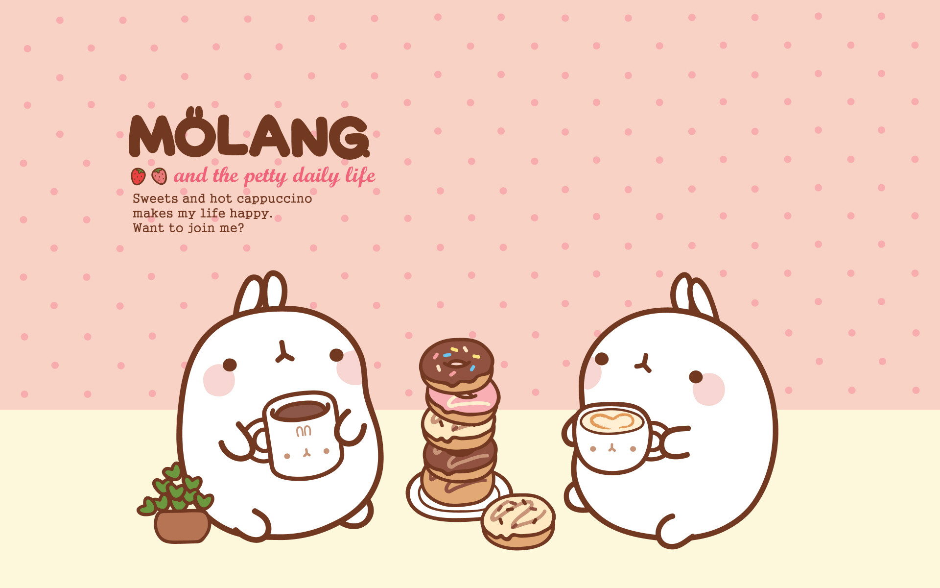 1920x1200 Molang Cute Korean Bunny Desktop Wallpaper - Litle Pups