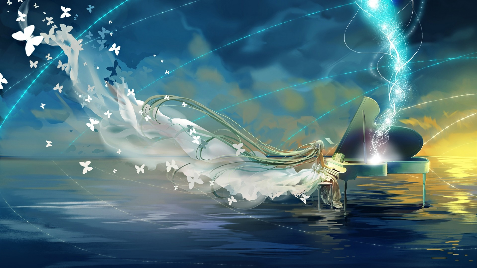 1920x1080 Preview wallpaper vocaloid, hatsune miku, piano, sky, butterfly