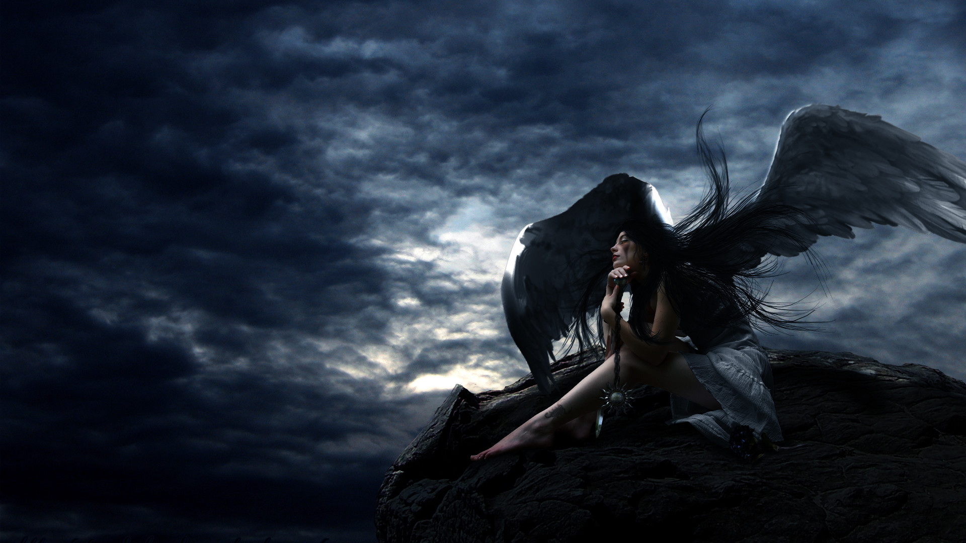 1920x1080 Awesome Black Angel Photo | Black Angel Wallpapers