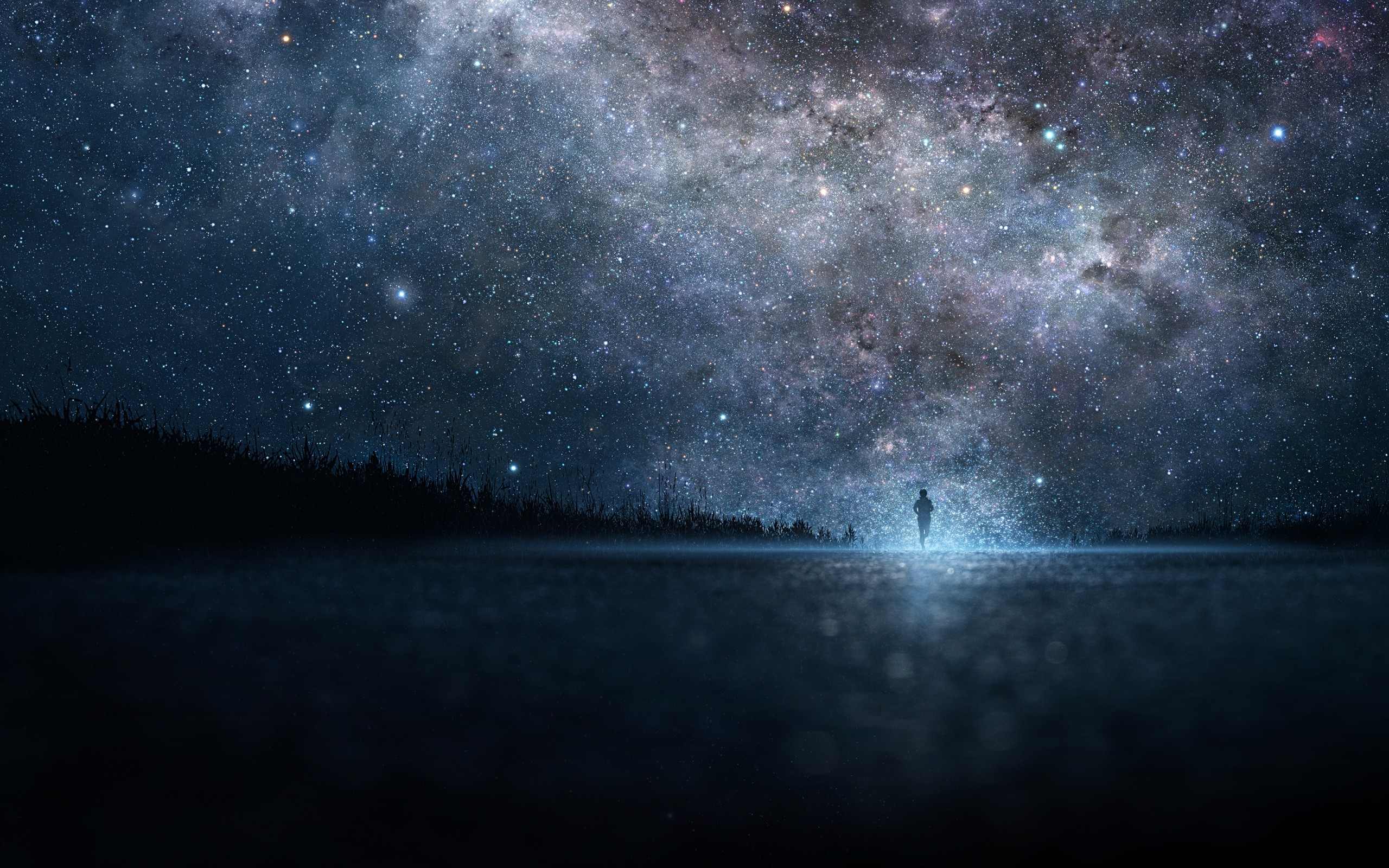 2560x1600 Preview wallpaper star, art, sky, night, people, silhouette