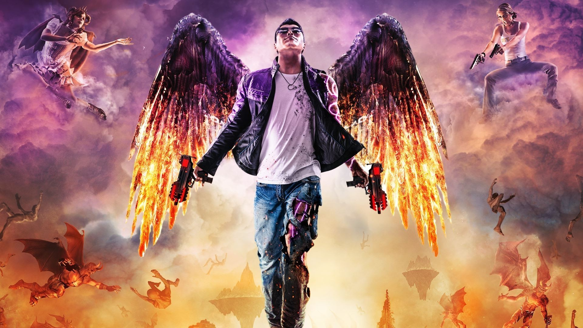 1920x1080 Saints Row, Saints Row: Gat Out Of Hell, Video Games, Digital Art, Wings,  Fire, Machine Gun Wallpapers HD / Desktop and Mobile Backgrounds