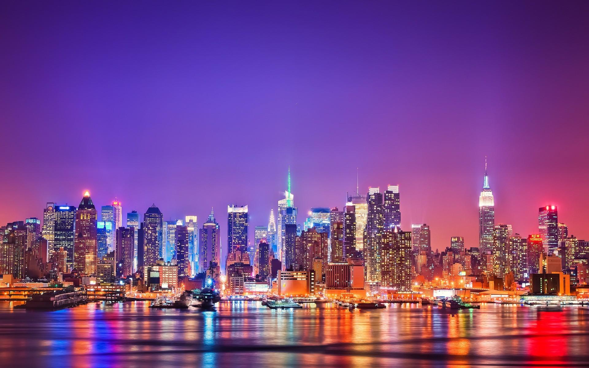 2048x1152 New York City Night Wallpaper