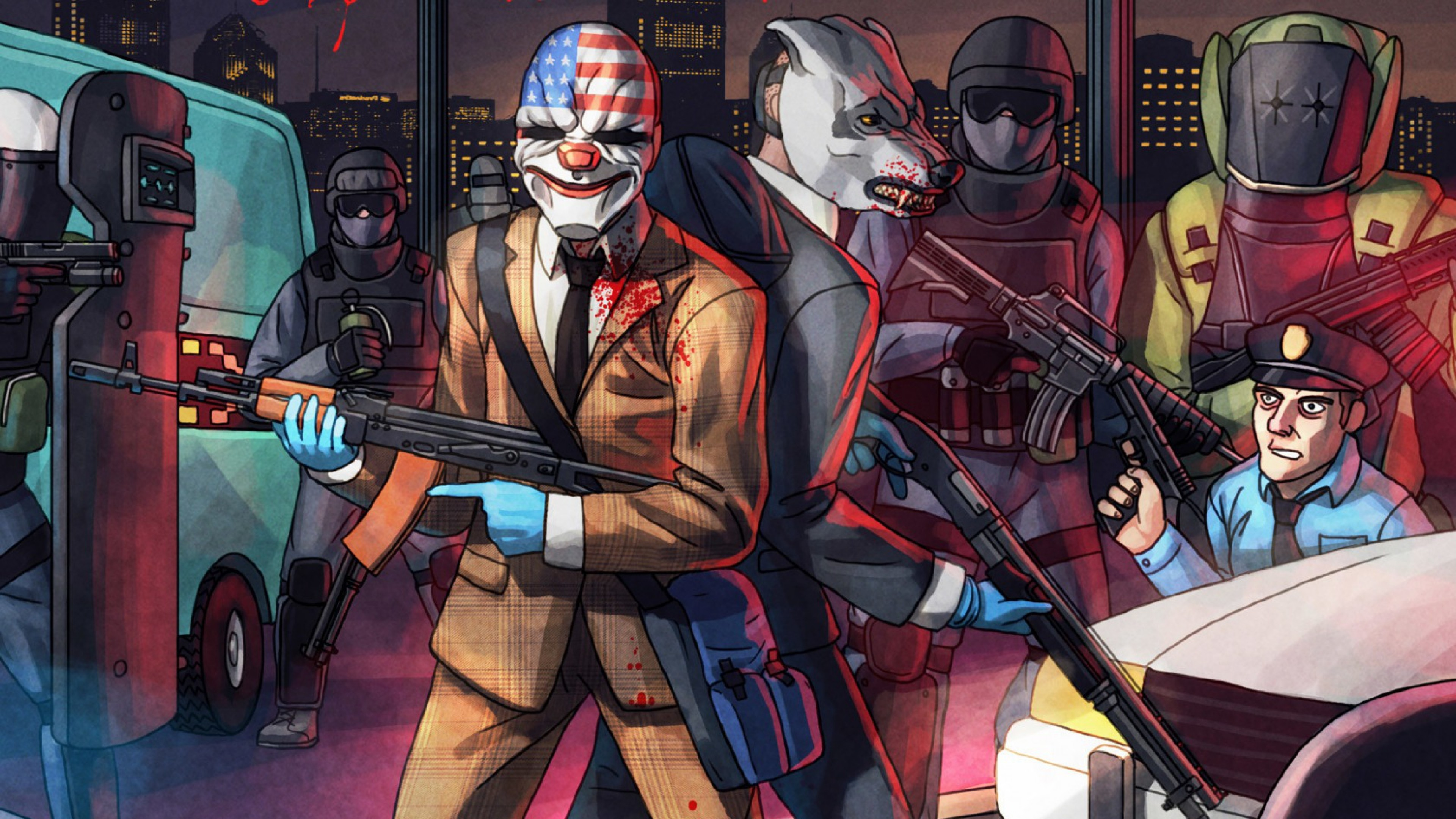 3840x2160 Preview wallpaper payday 2, overkill software, starbreeze studios ab,  dallas, wolf,