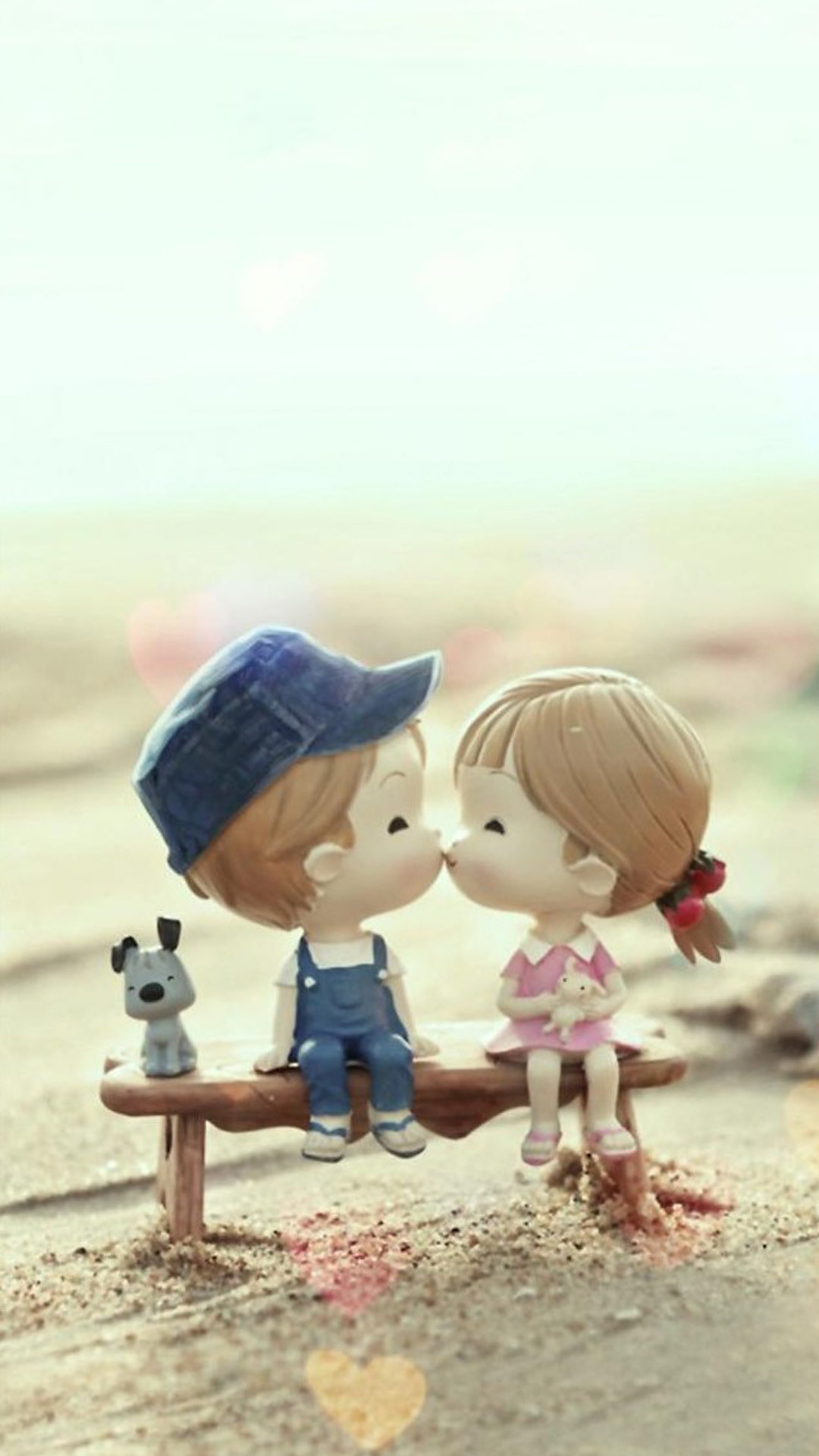 1080x1920 Cute Cartoon Kissing Couple #iPhone #7 #wallpaper