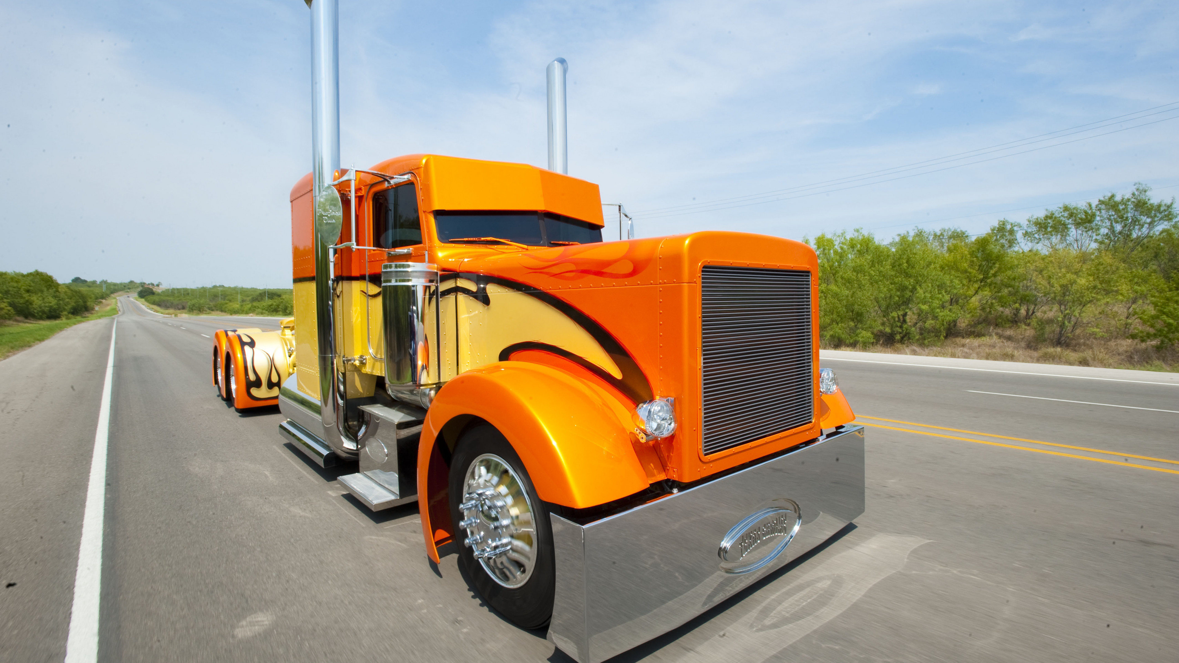 3840x2160 Semi Trailer Truck, Peterbilt 379, Mode of Transport, Freightliner Trucks,  Truck Wallpaper
