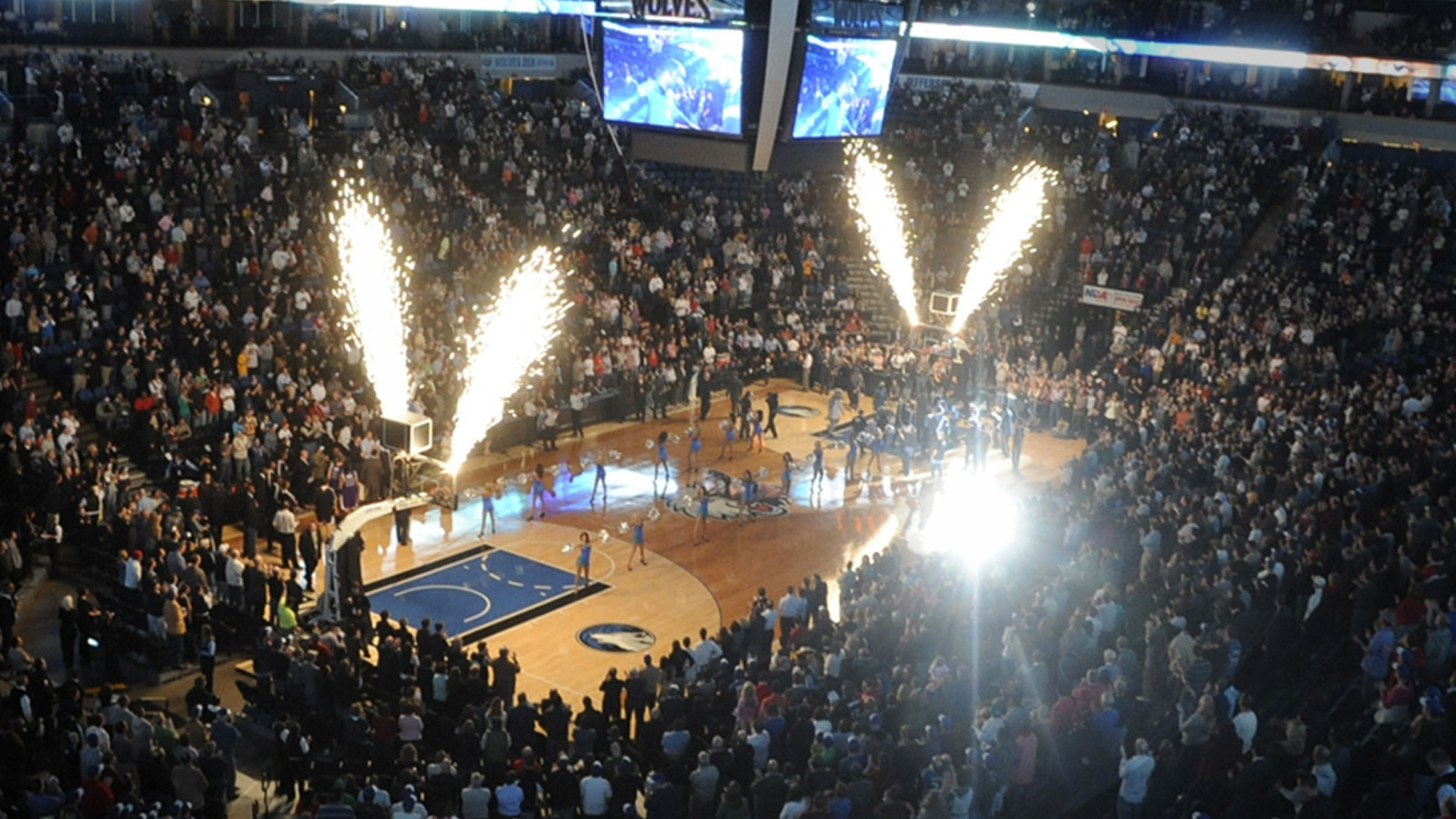 3840x2160  Wallpaper minnesota timberwolves, basketball, spectators,  fireworks