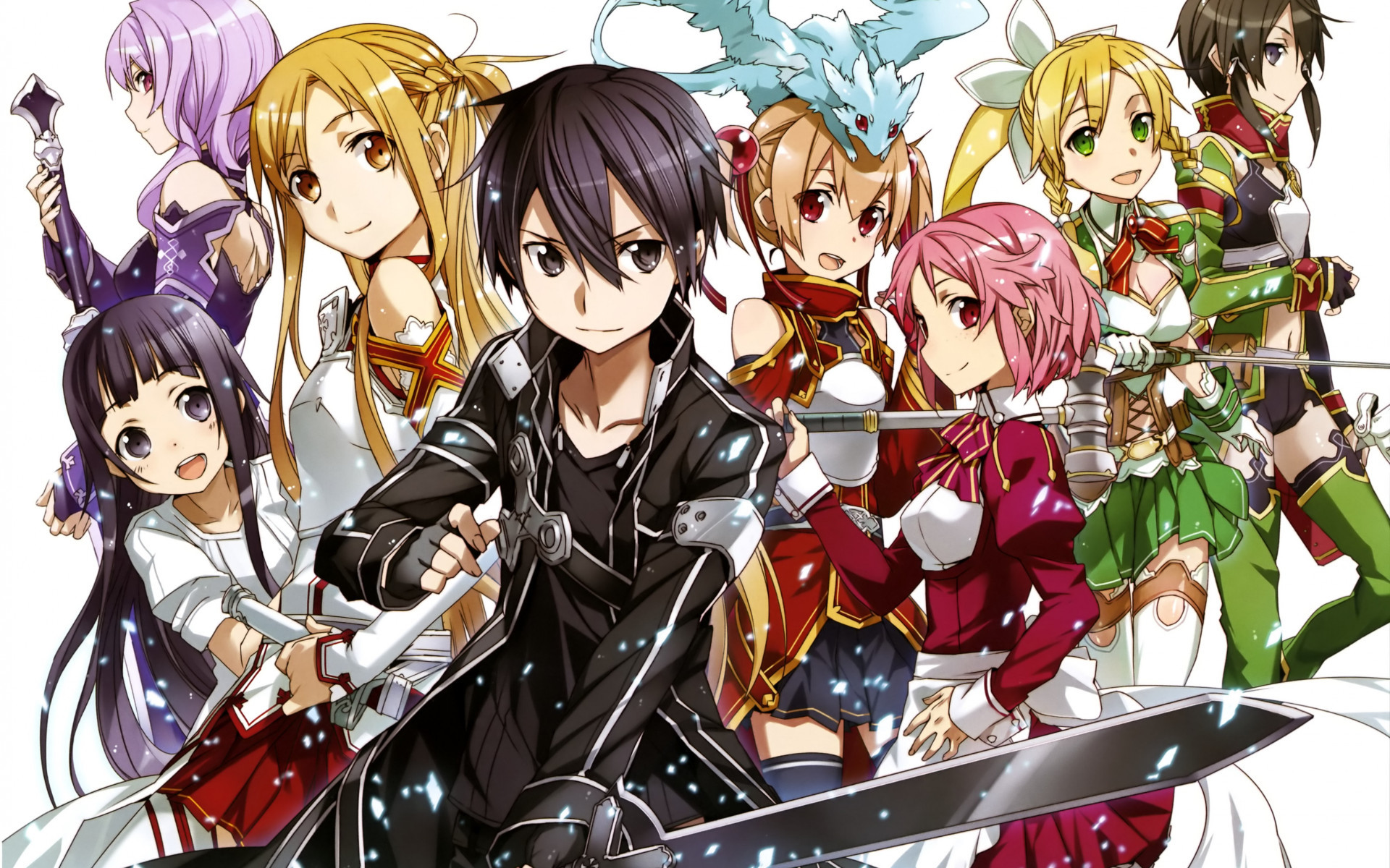 1920x1200 HD Wallpaper Sword Art Online 2 Asuna Kirito Sinon