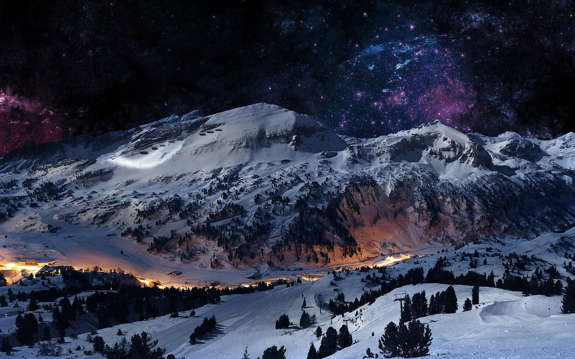 1920x1200 Digital Art Landscapes Mountains Night Sky Scene Winter Hd Wallpaper 944634