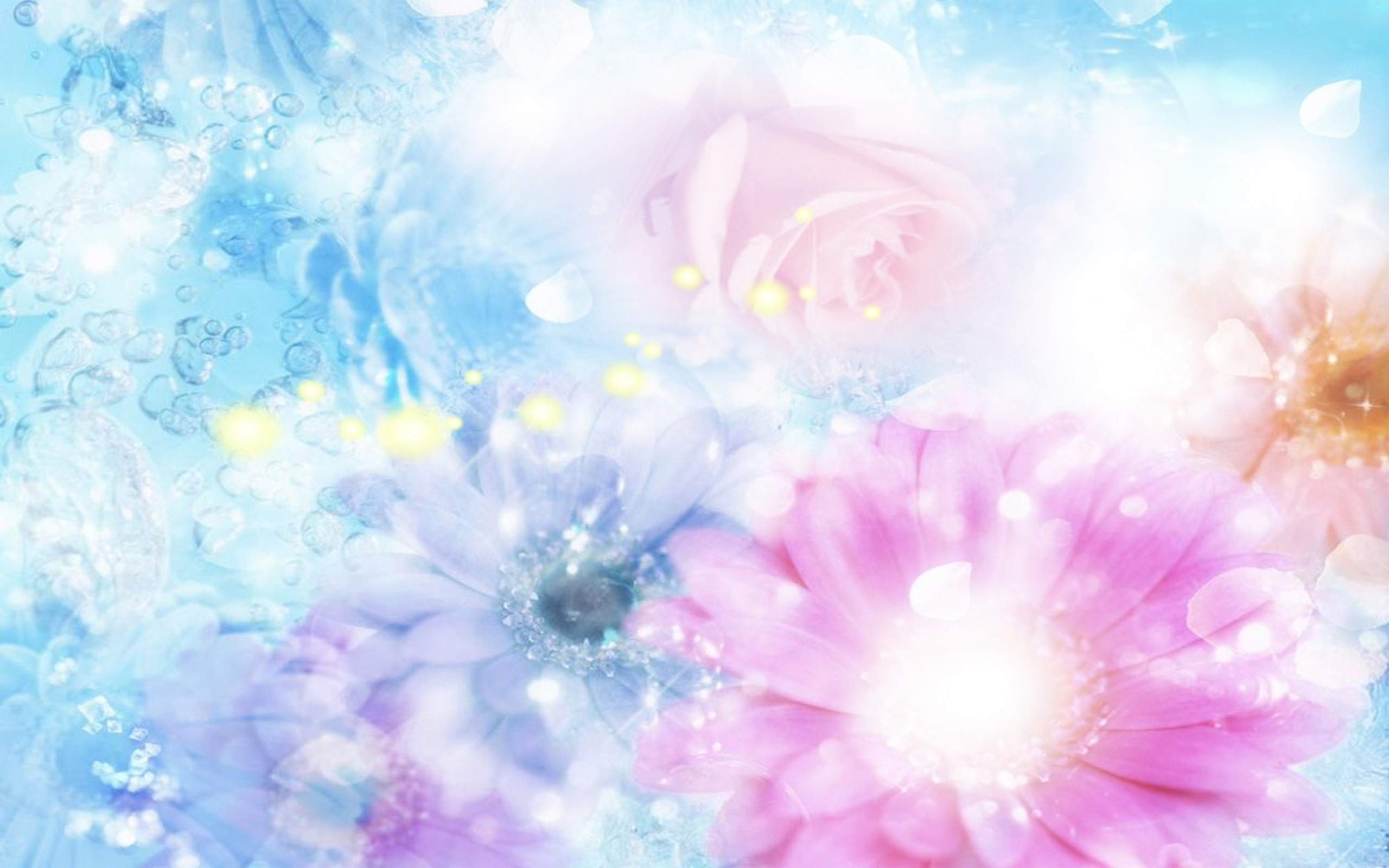 2560x1600  Wallpaper pink, blue, flowers, blurred, background, effects