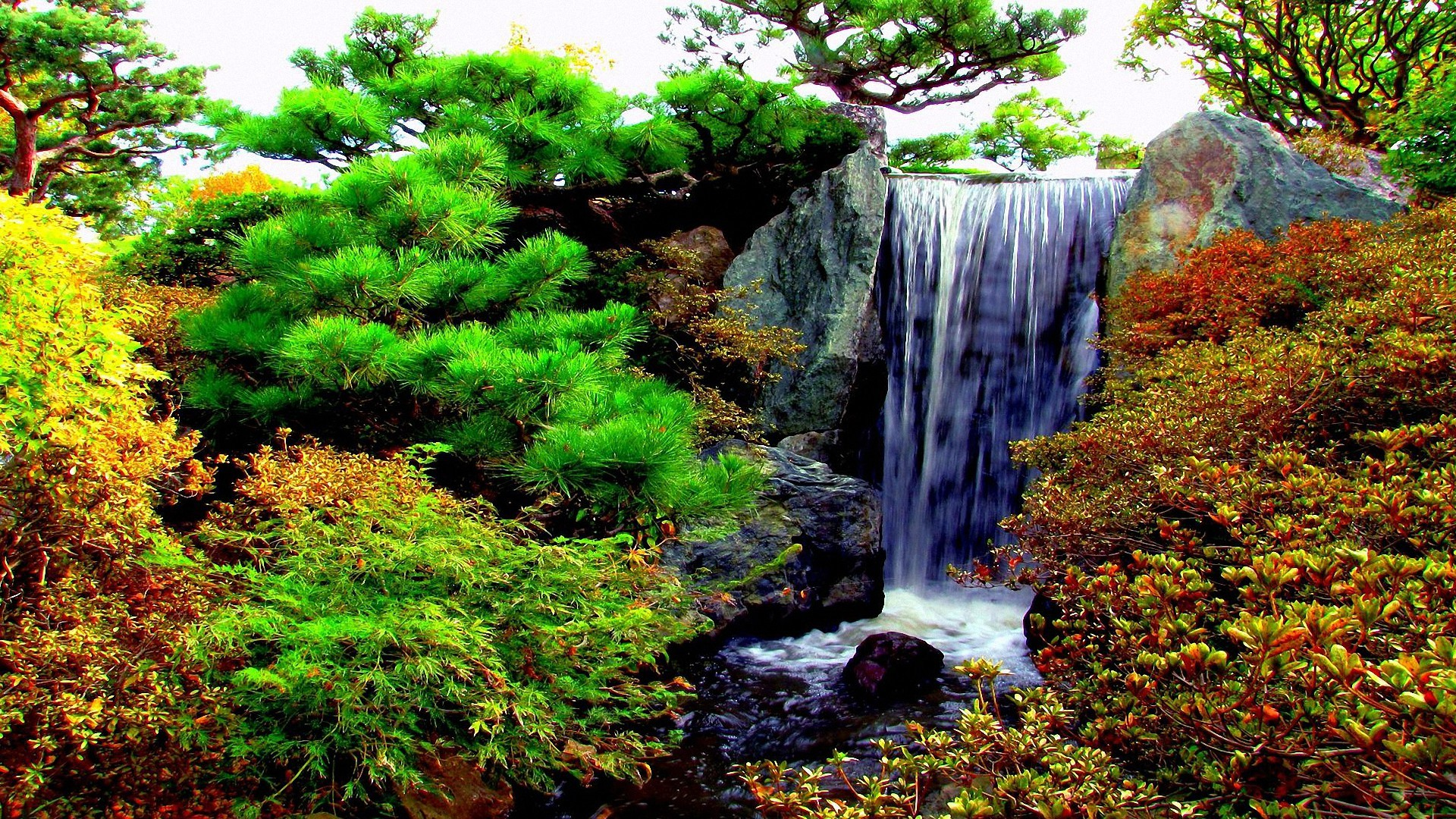 1920x1080 cool garden waterfalls HD backgrounds - desktop wallpapers