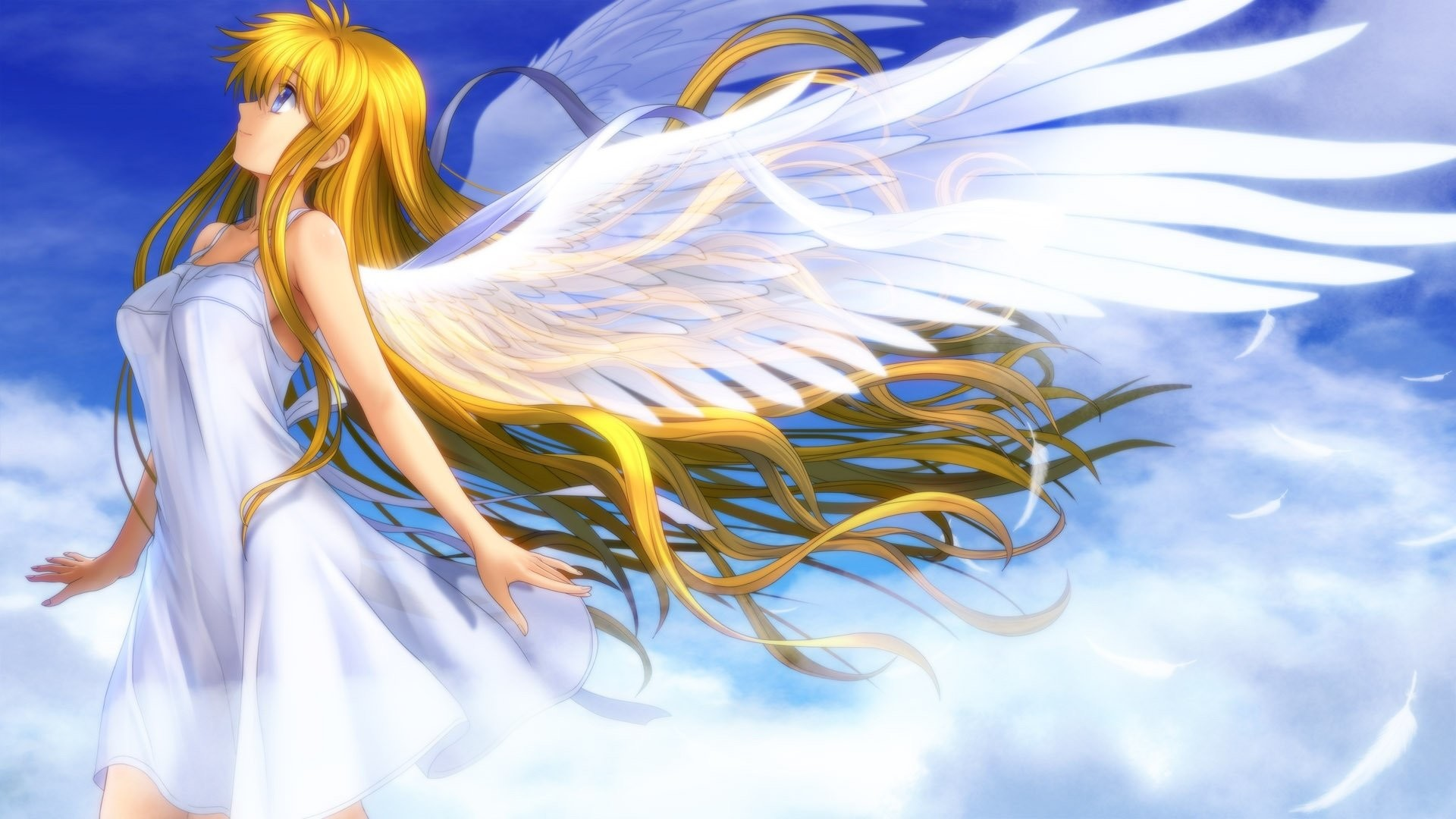 1920x1080 Anime Girl With Angel Wings