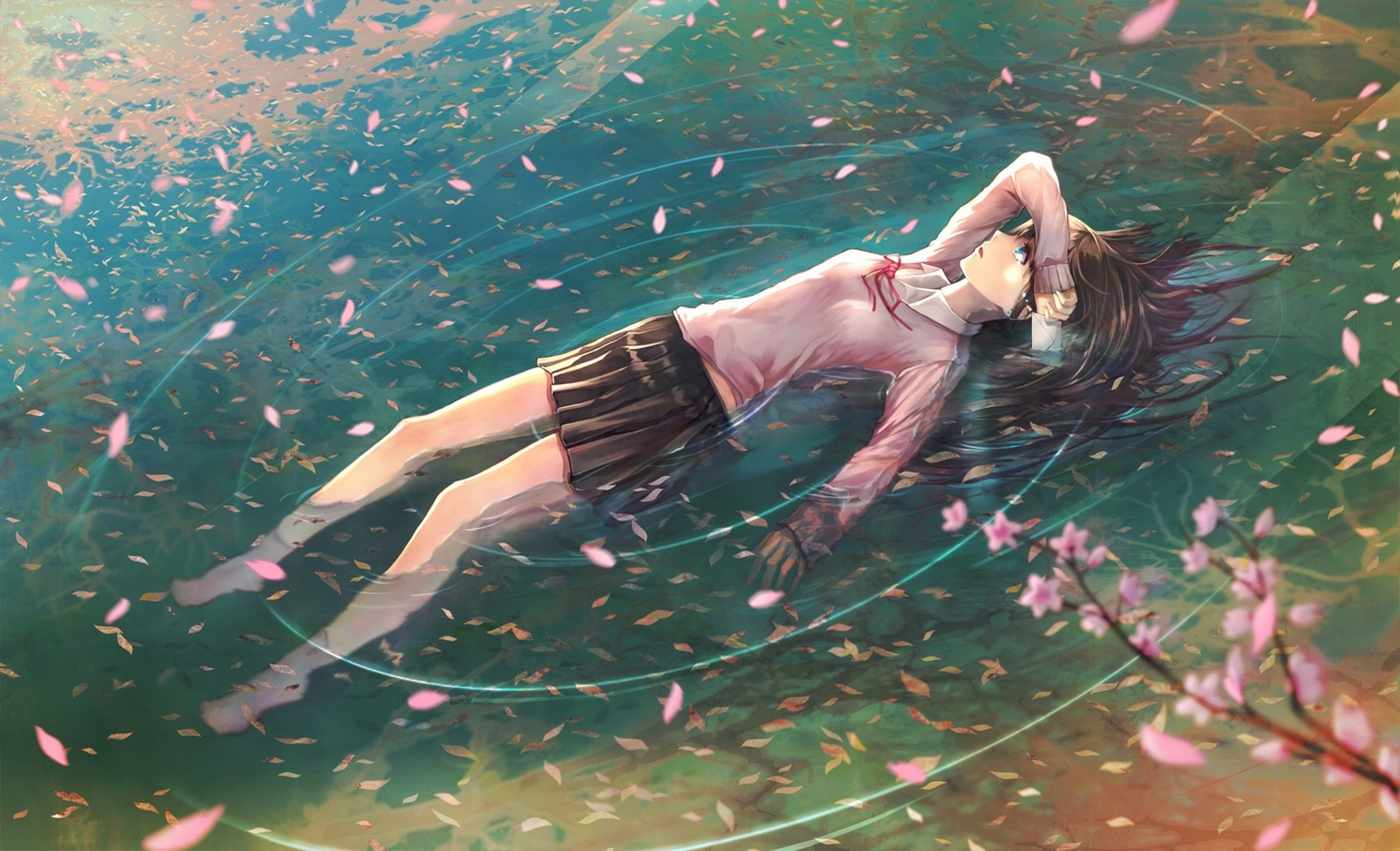 1920x1168 School Uniforms Anime Girls Floating Water Cherry Blossom