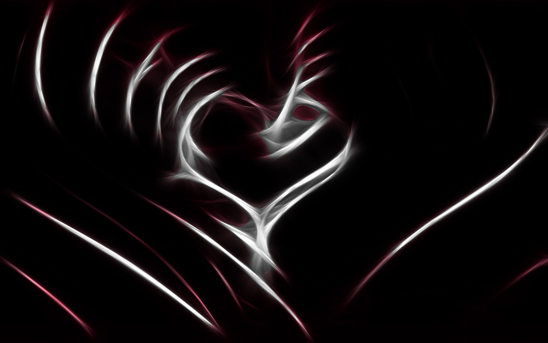 1920x1200 Wallpaper Abstract, Heart, Line, White, Red, Black