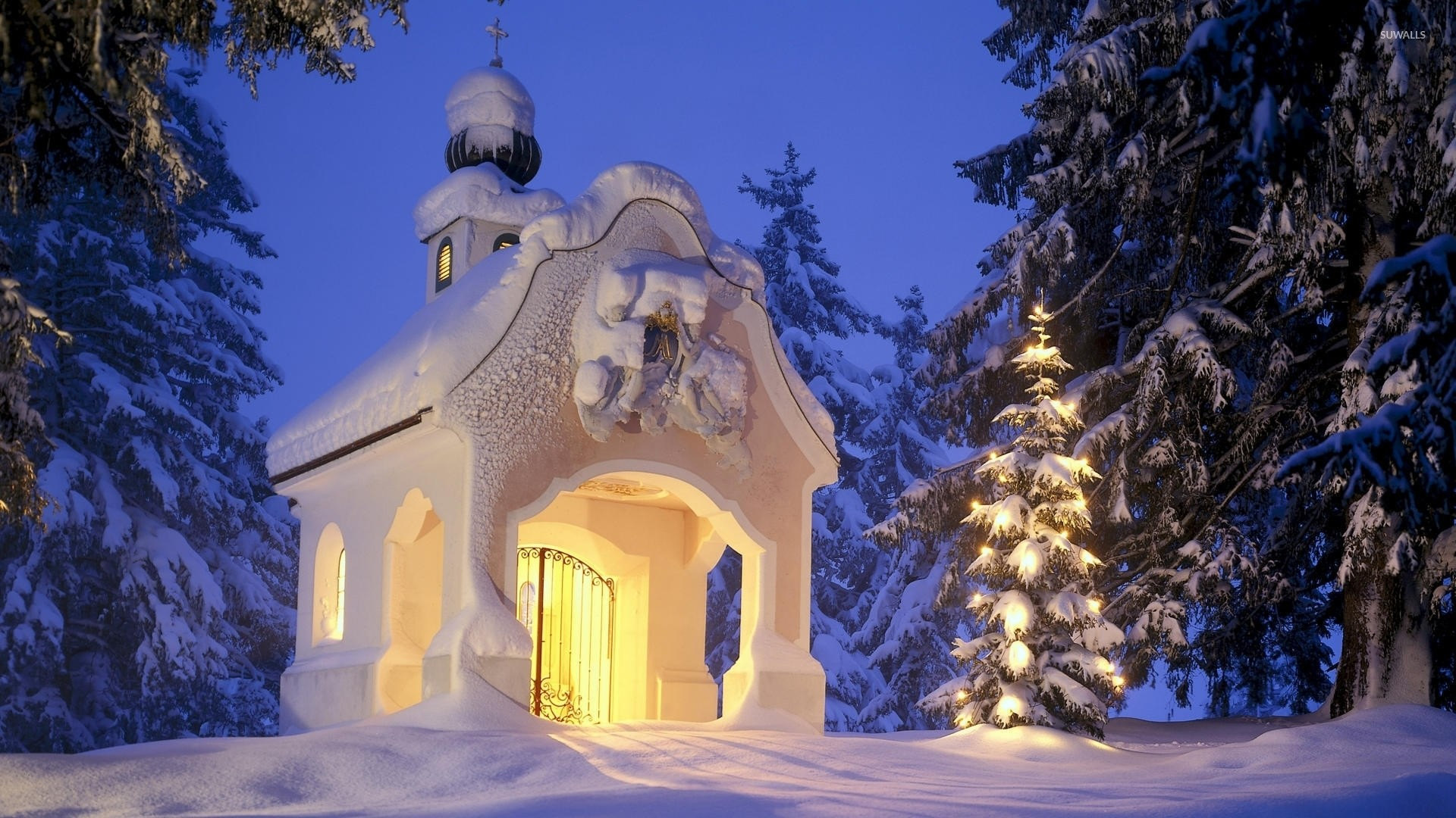 1920x1080 Small church in the snowy forest wallpaper  jpg